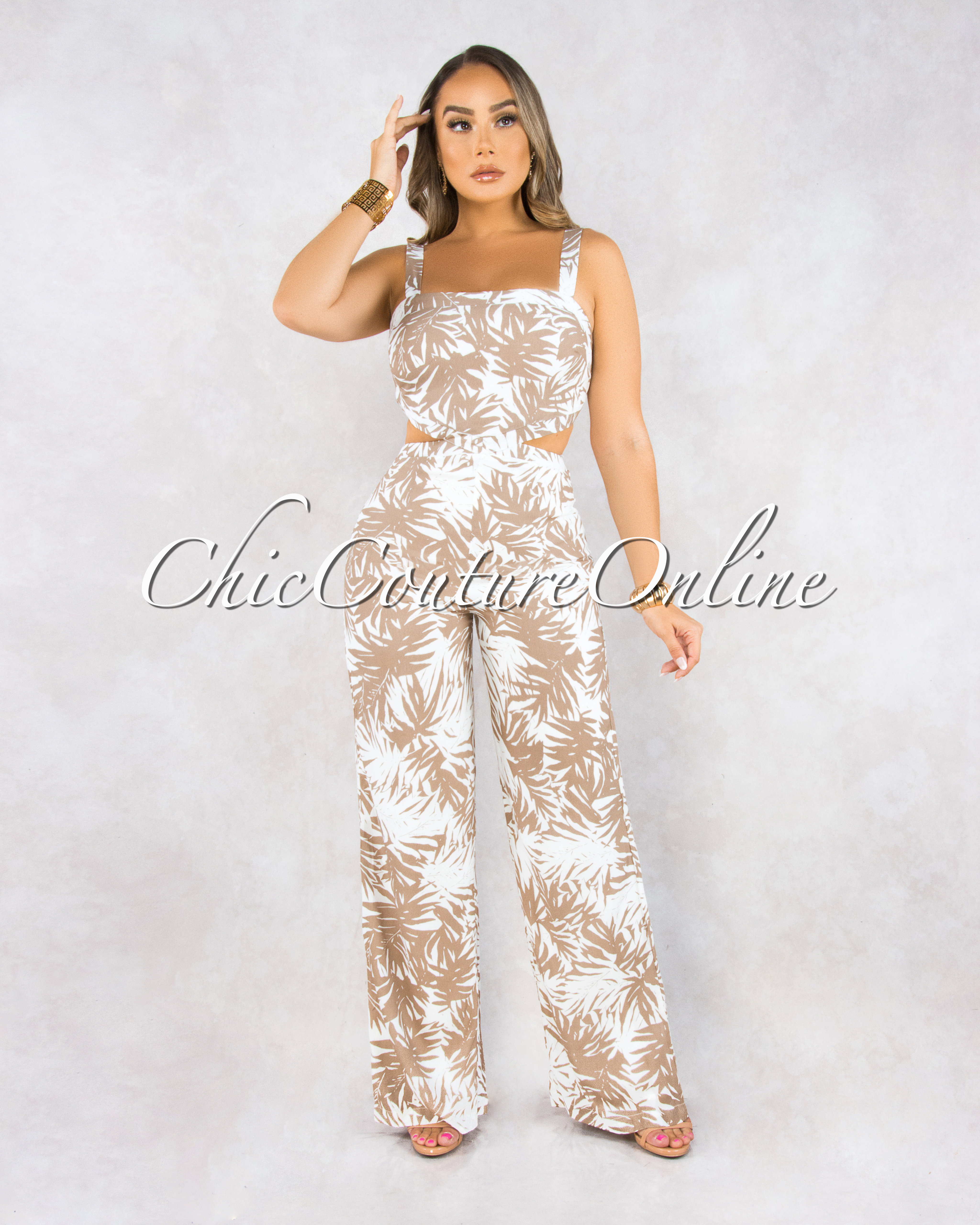 Siah Off-White Brown Leaf Print Cut-Out Sides Jumpsuit