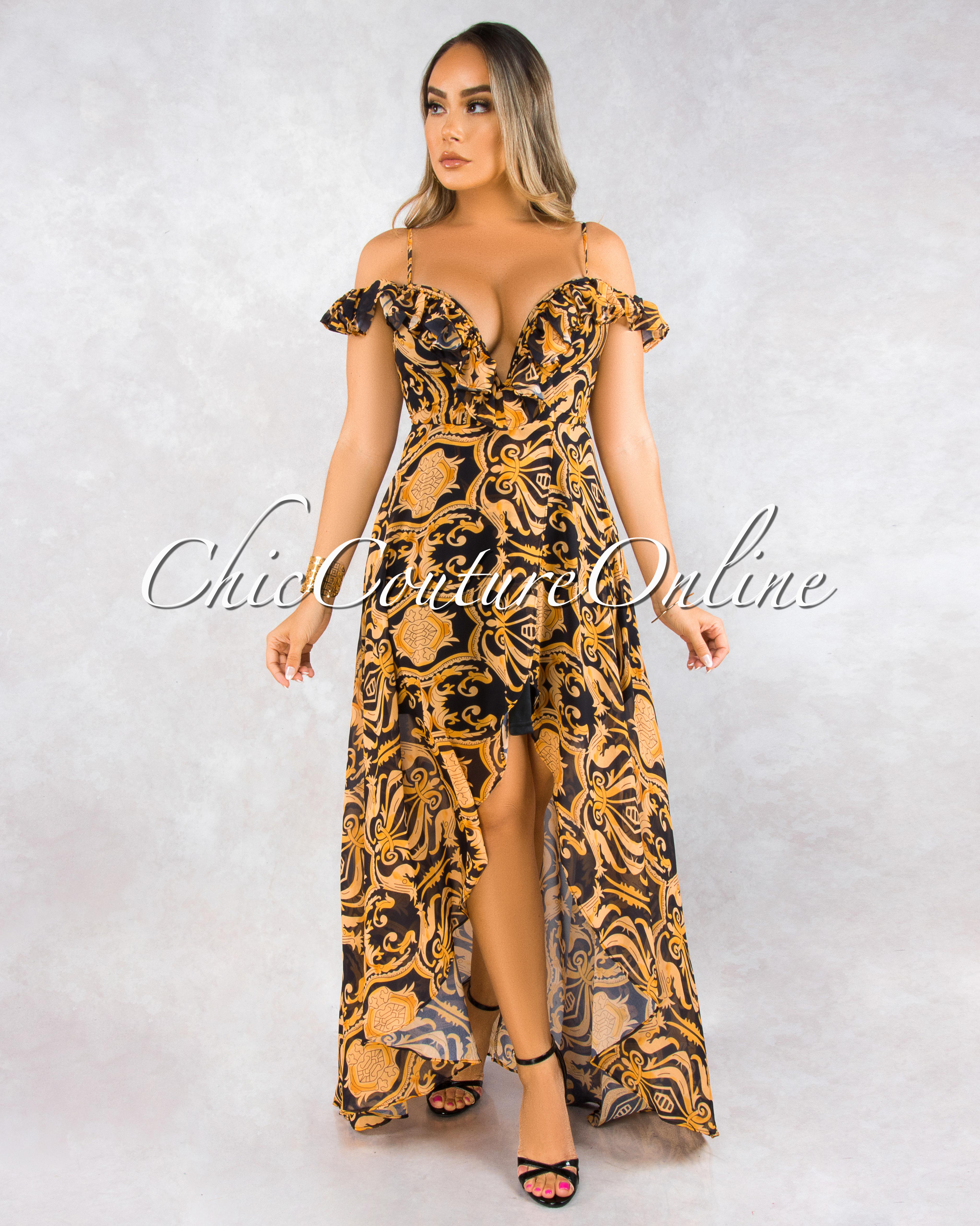 Tarin Black Gold Print Hi-Lo Maxi Dress