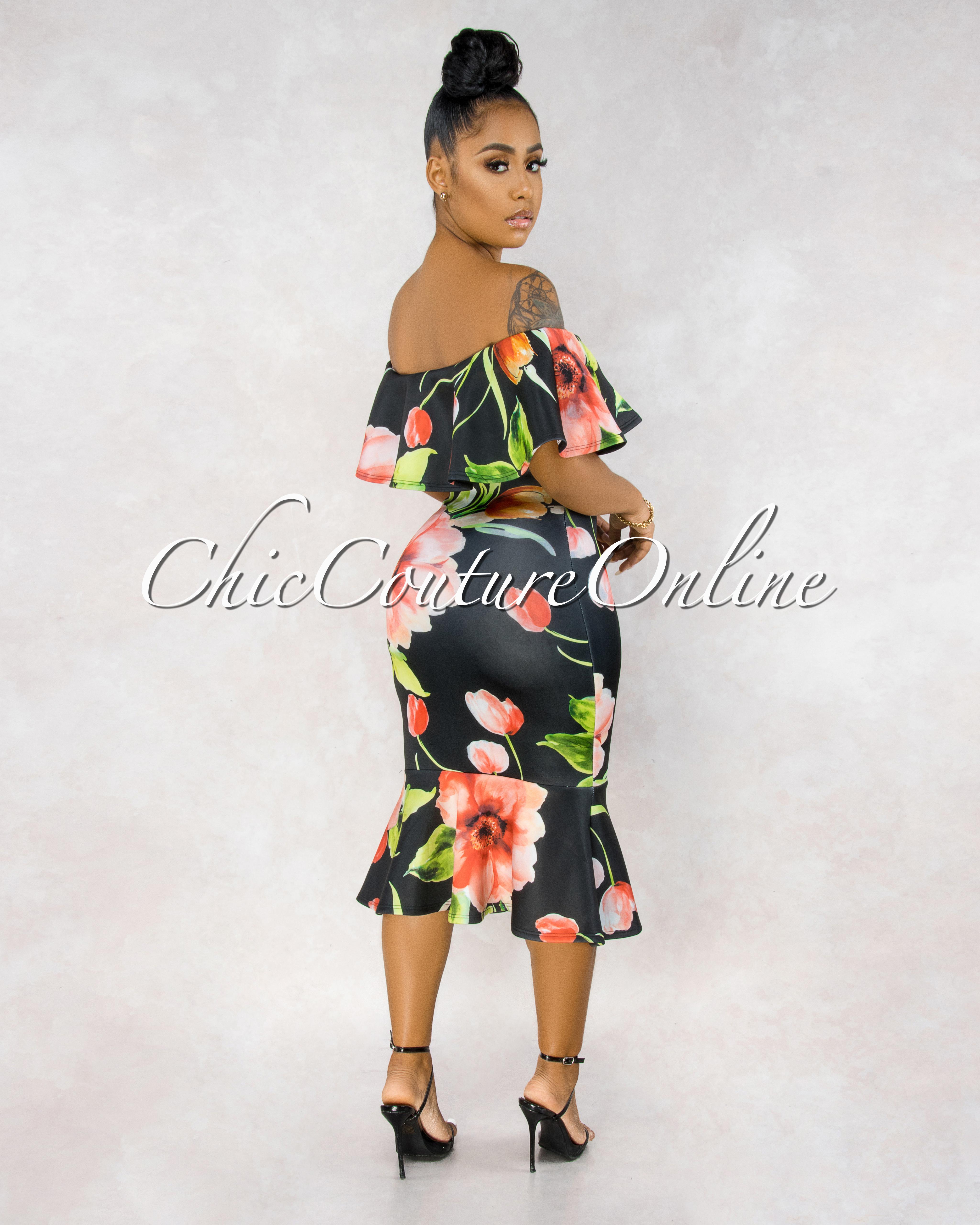 Amaris Black Floral Print Off-The-Shoulder Dress
