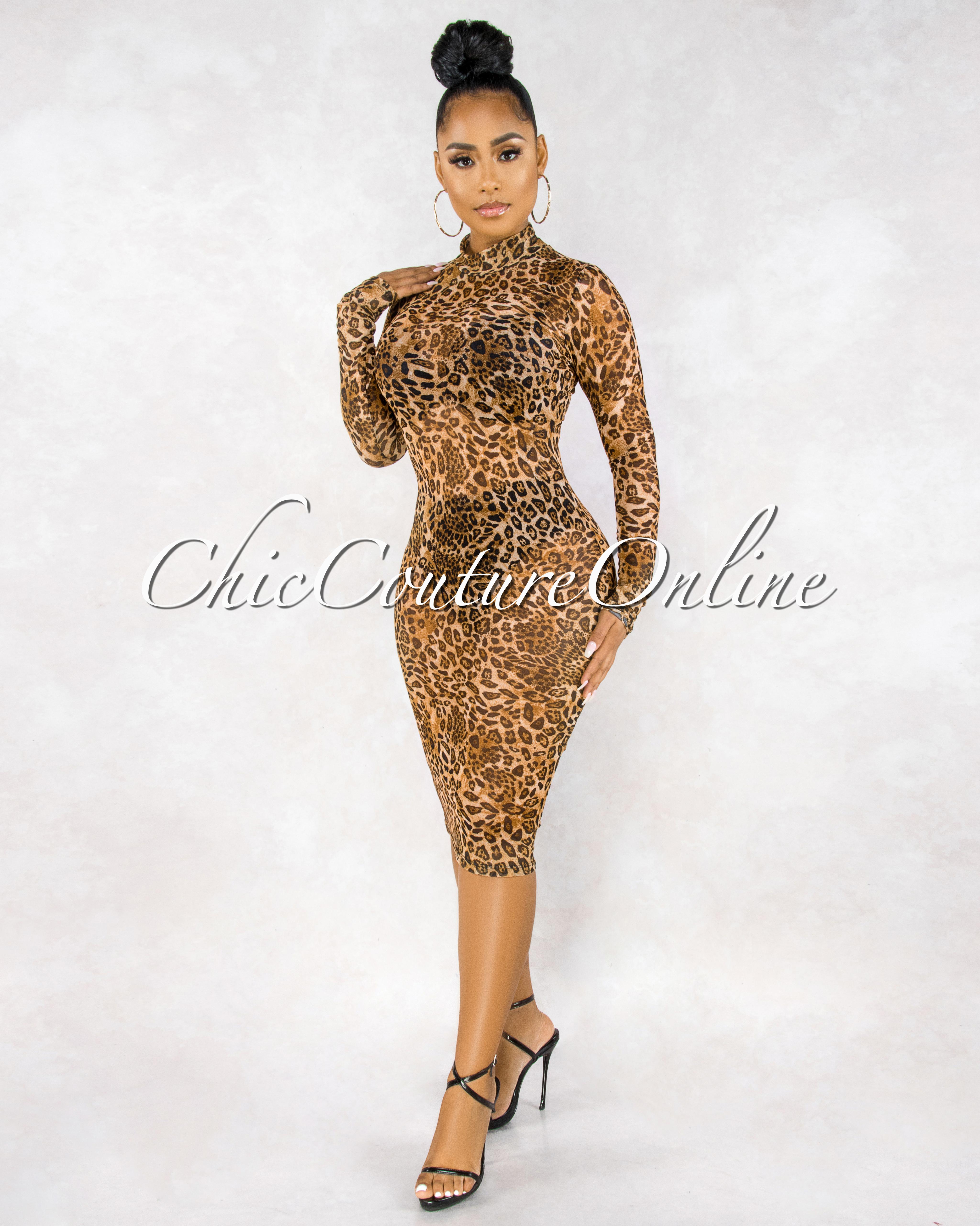 Adahy Leopard Print Sheer Mesh Long Sleeves Dress