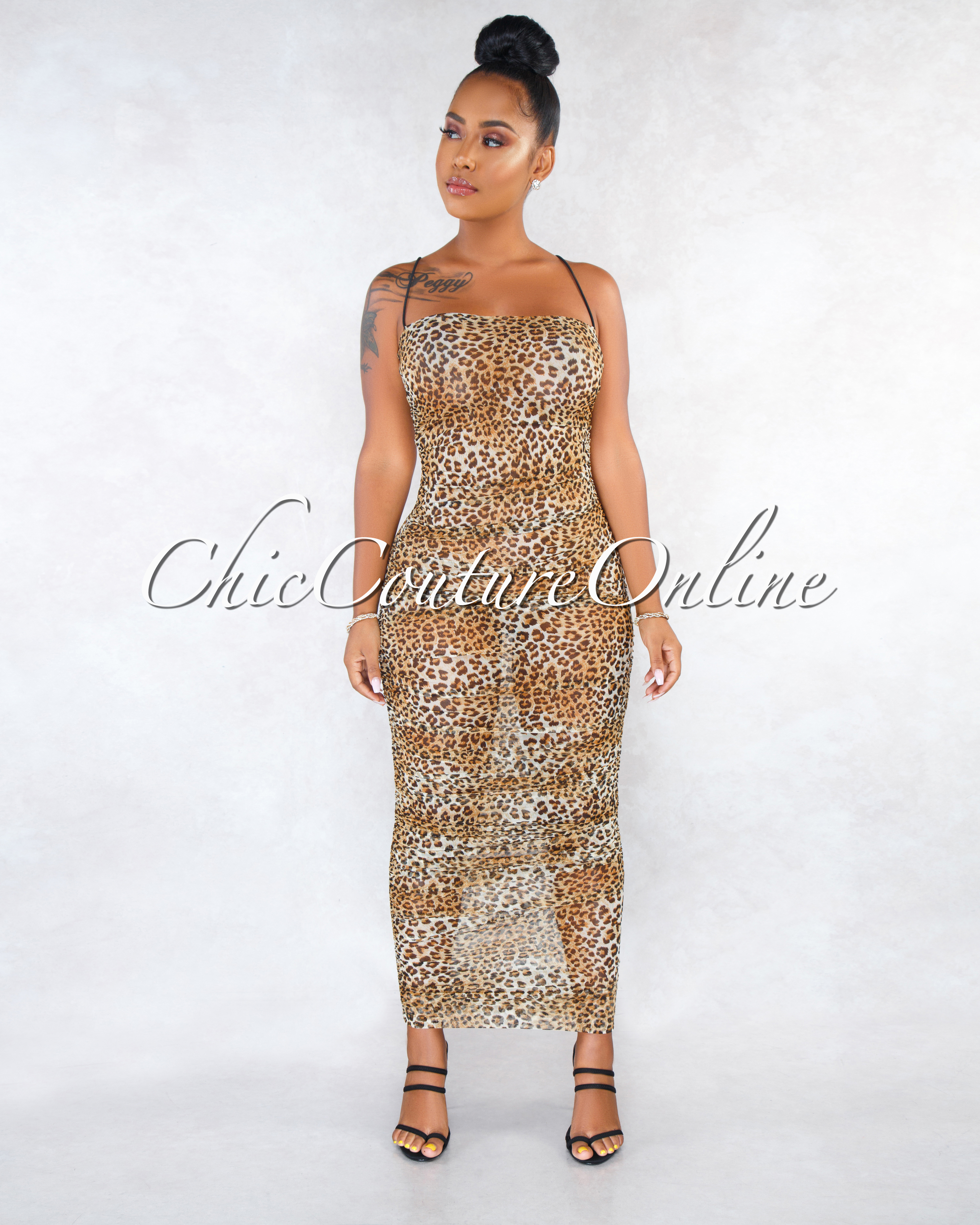 Tylore Leopard Print Sheer Mesh Ruched Maxi Dress