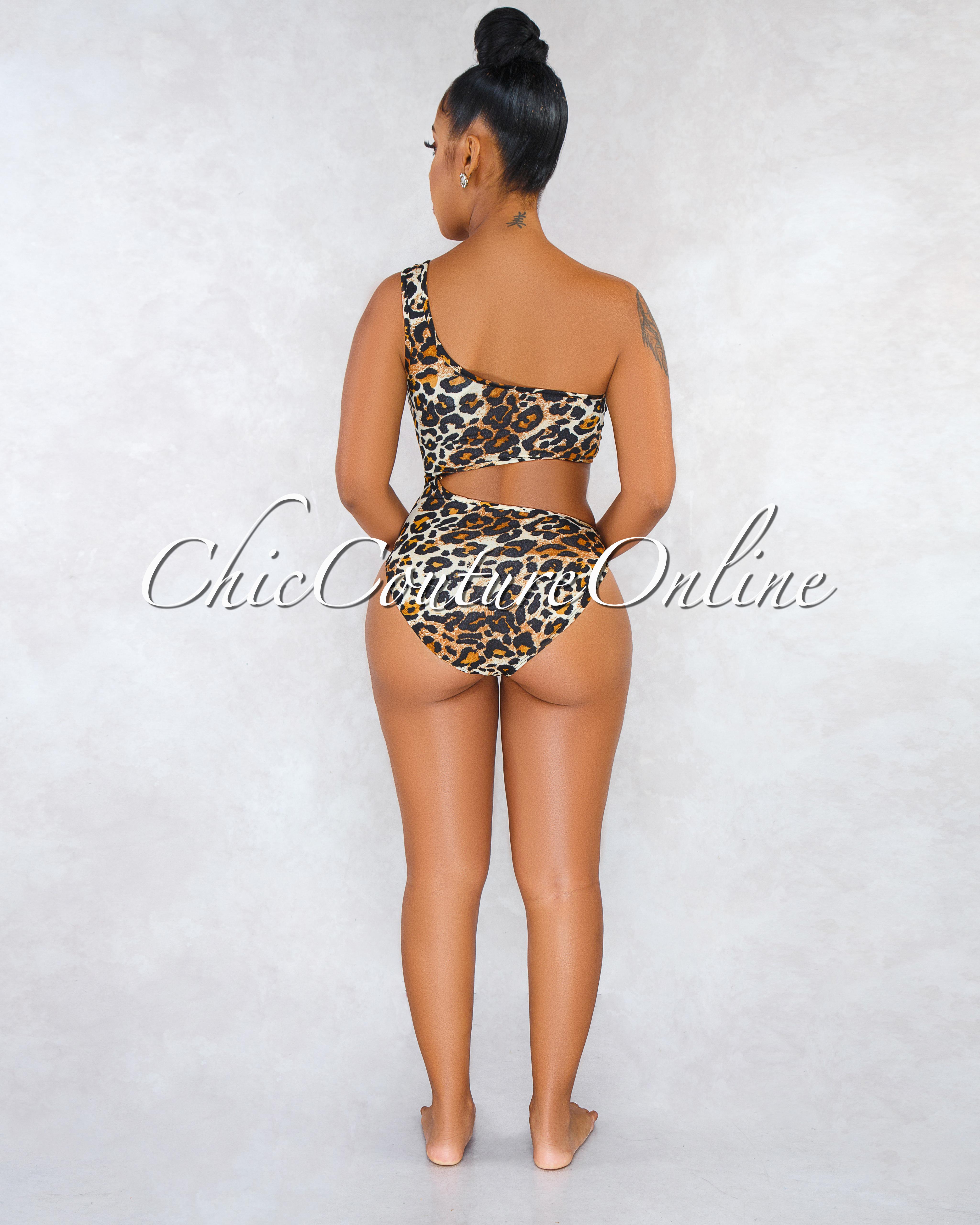 Jeanetta Leopard Print Cut-Out Two Piece Bodysuit Set