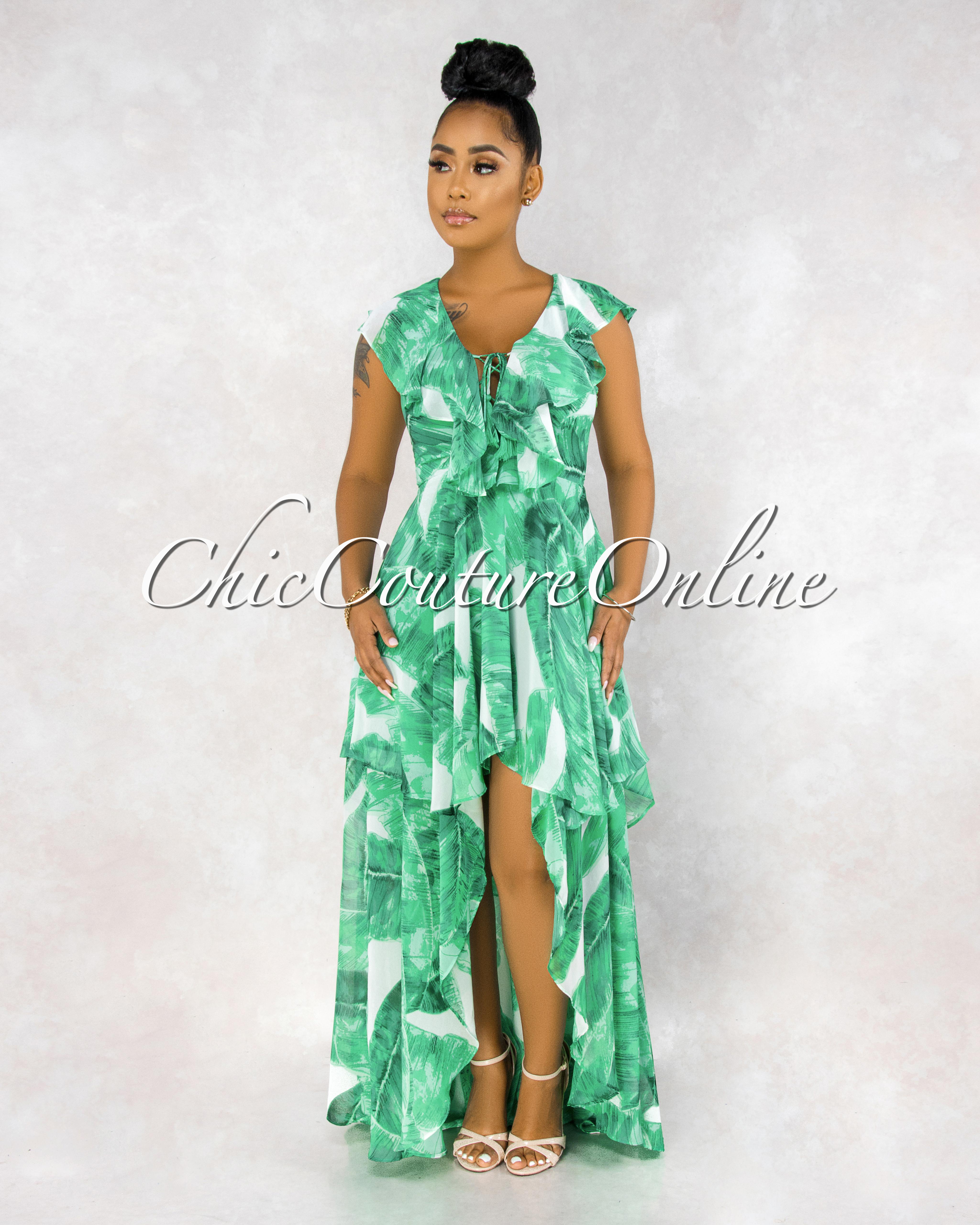 Orla Green Leaf Print Ruffle Maxi Dress