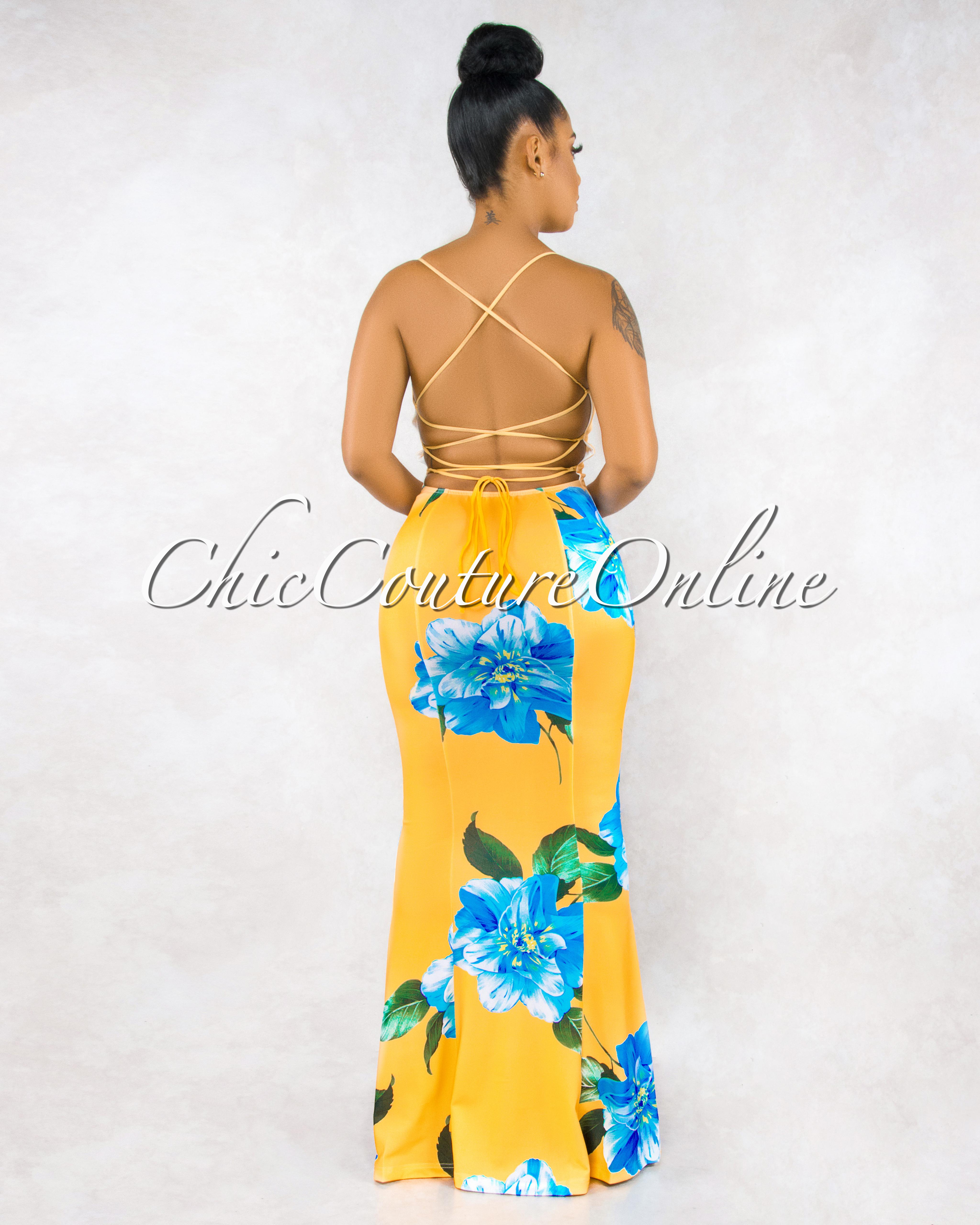 Marjorie Yellow Blue Floral Print Lace Up Back Maxi Dress