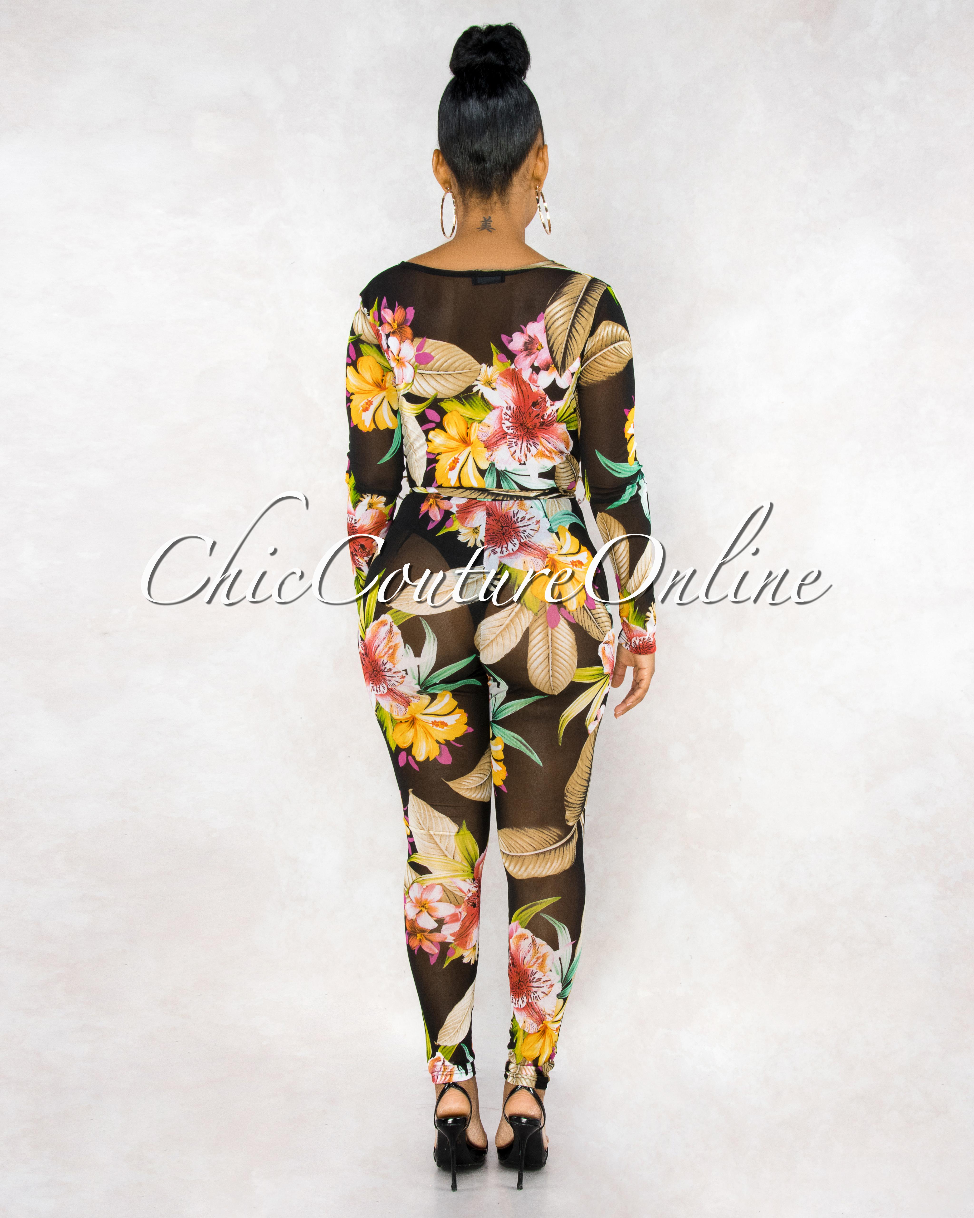 Booker Black Multi-Color Floral Print Mesh Sheer Jumpsuit
