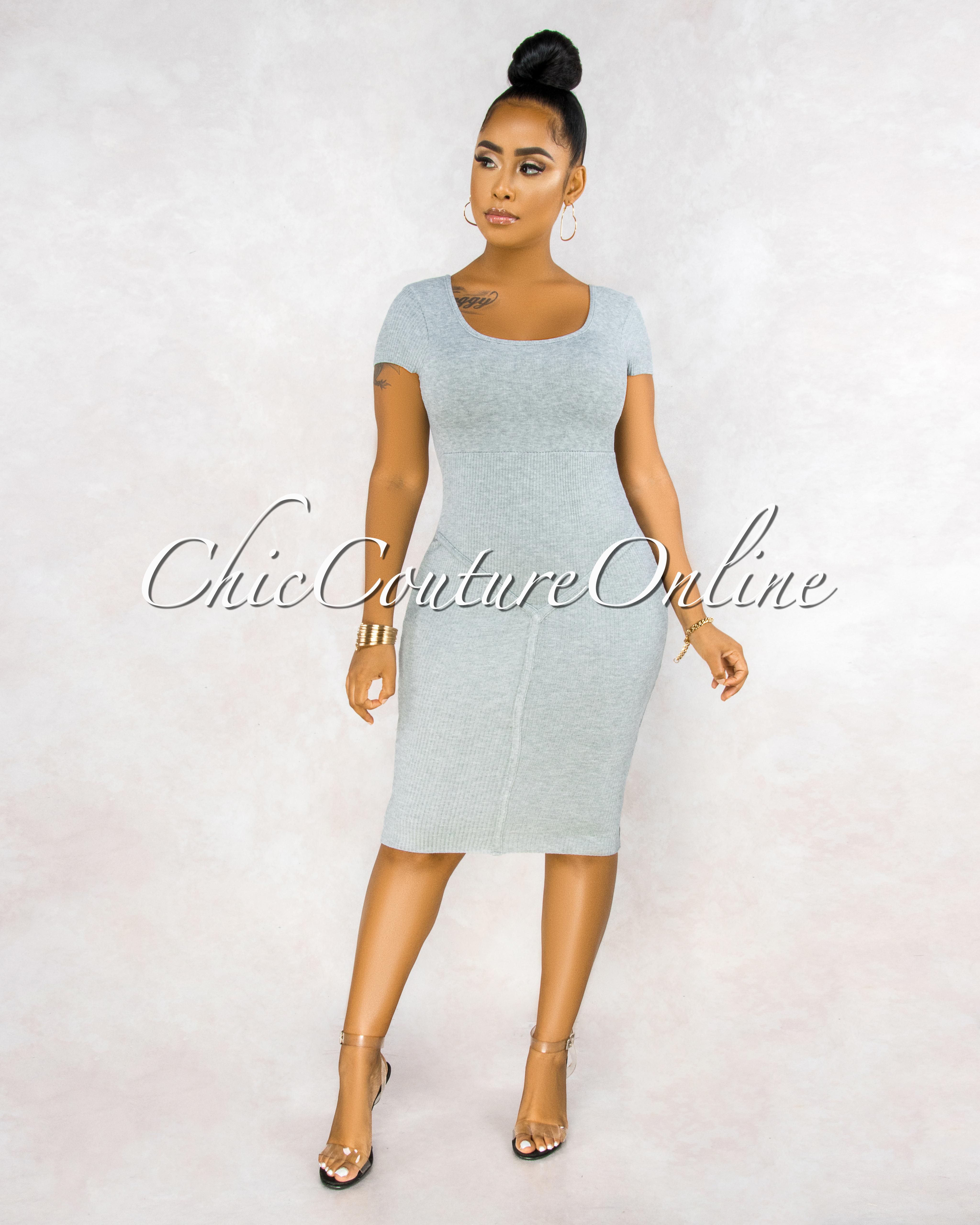 Giselle Grey Ribbed Trim Details Midi Dress