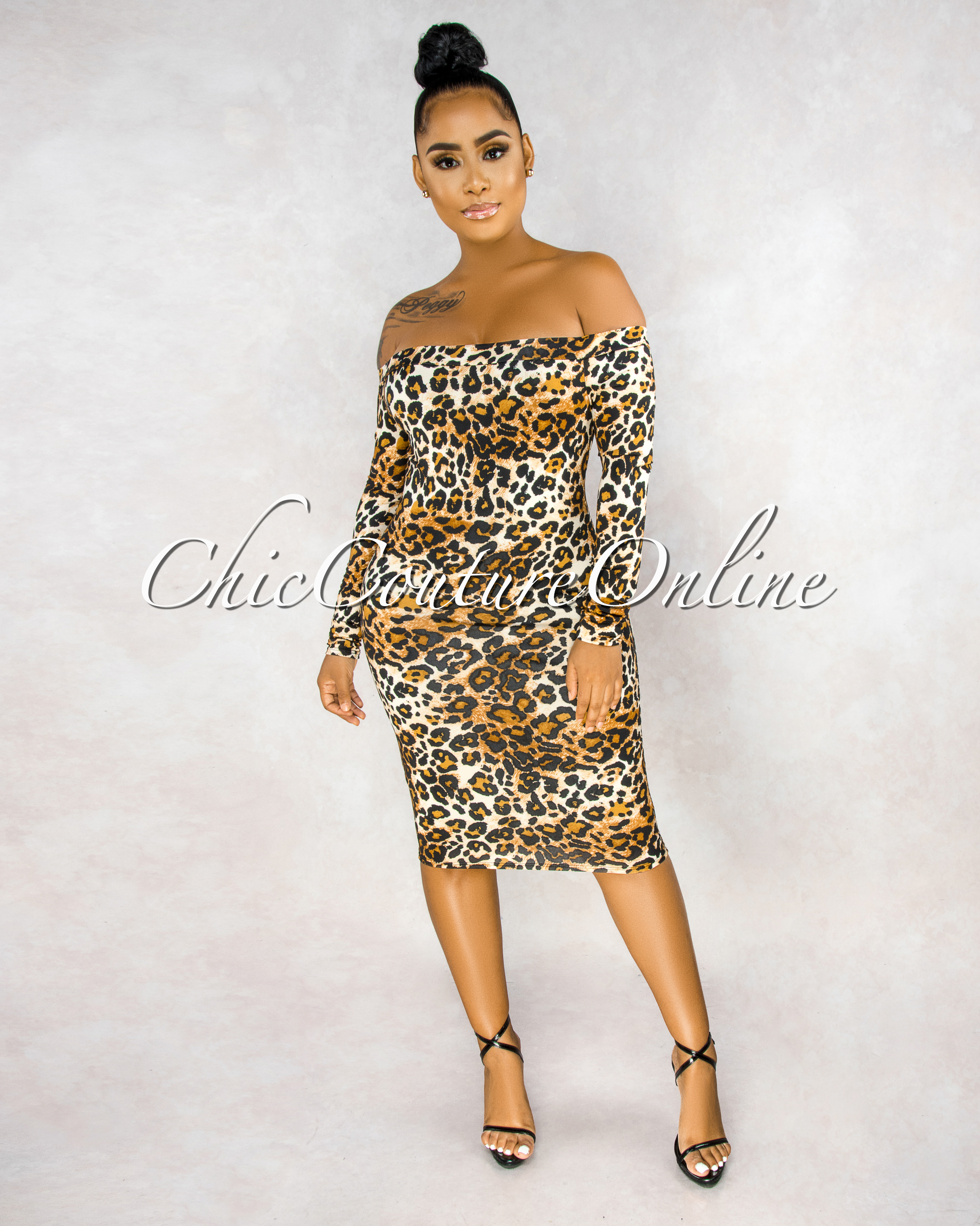 Imara Brown Leopard Print Lace-Up Back Long Sleeves Dress