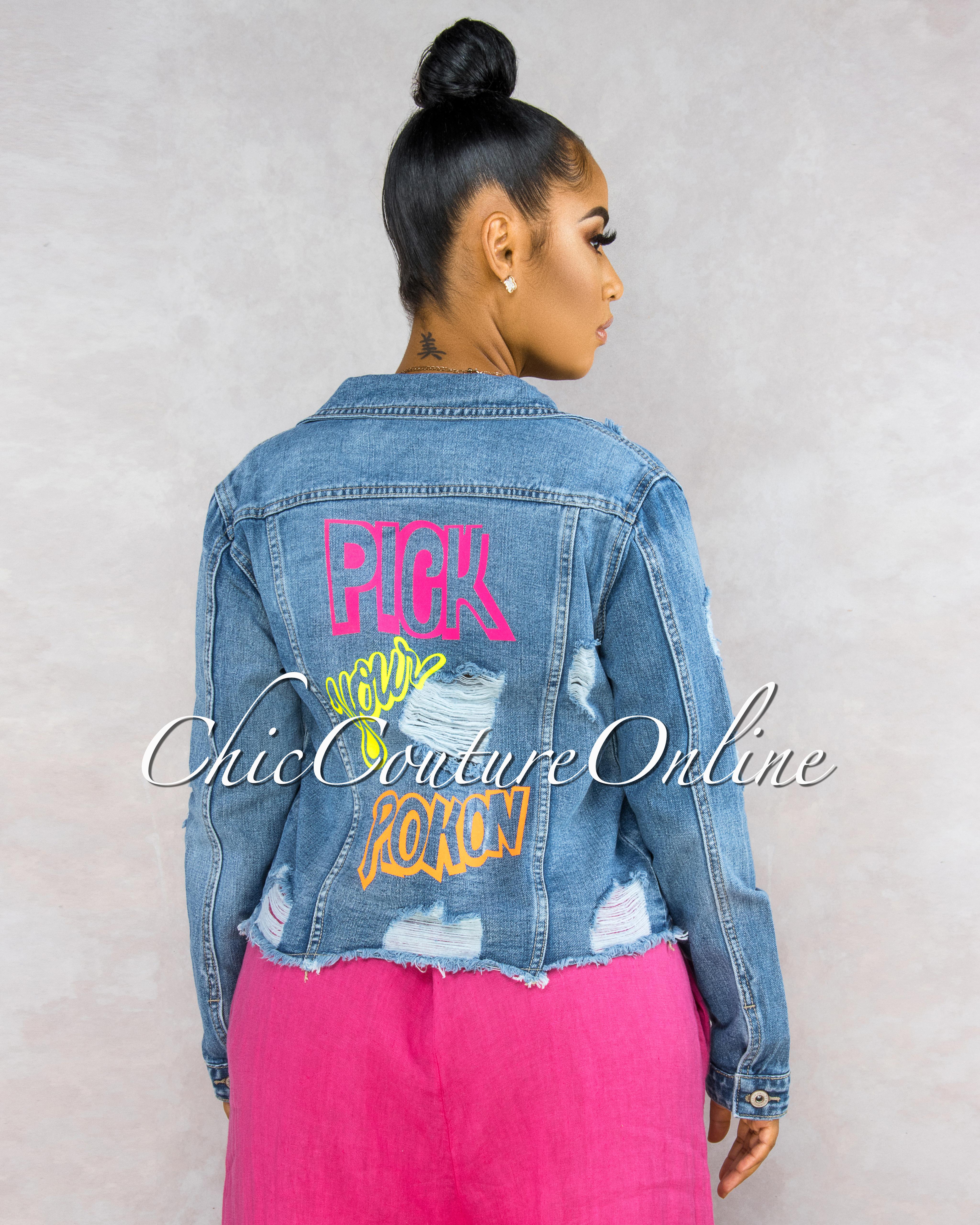 Briella Denim Washed Back Neon Graphics Jacket