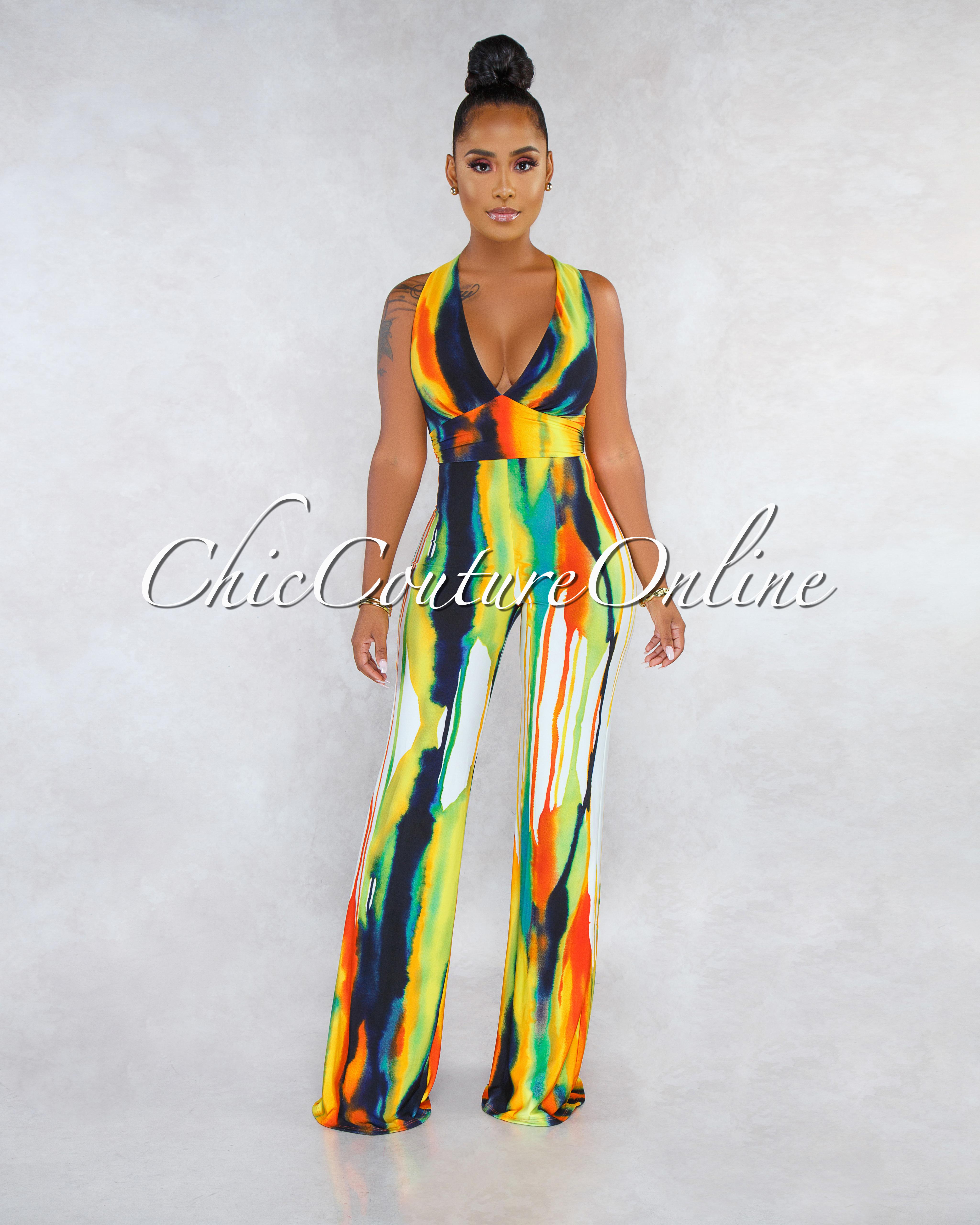 Avinna Yellow Orange Multi-Color Print Halter  CURVACEOUS Jumpsuit