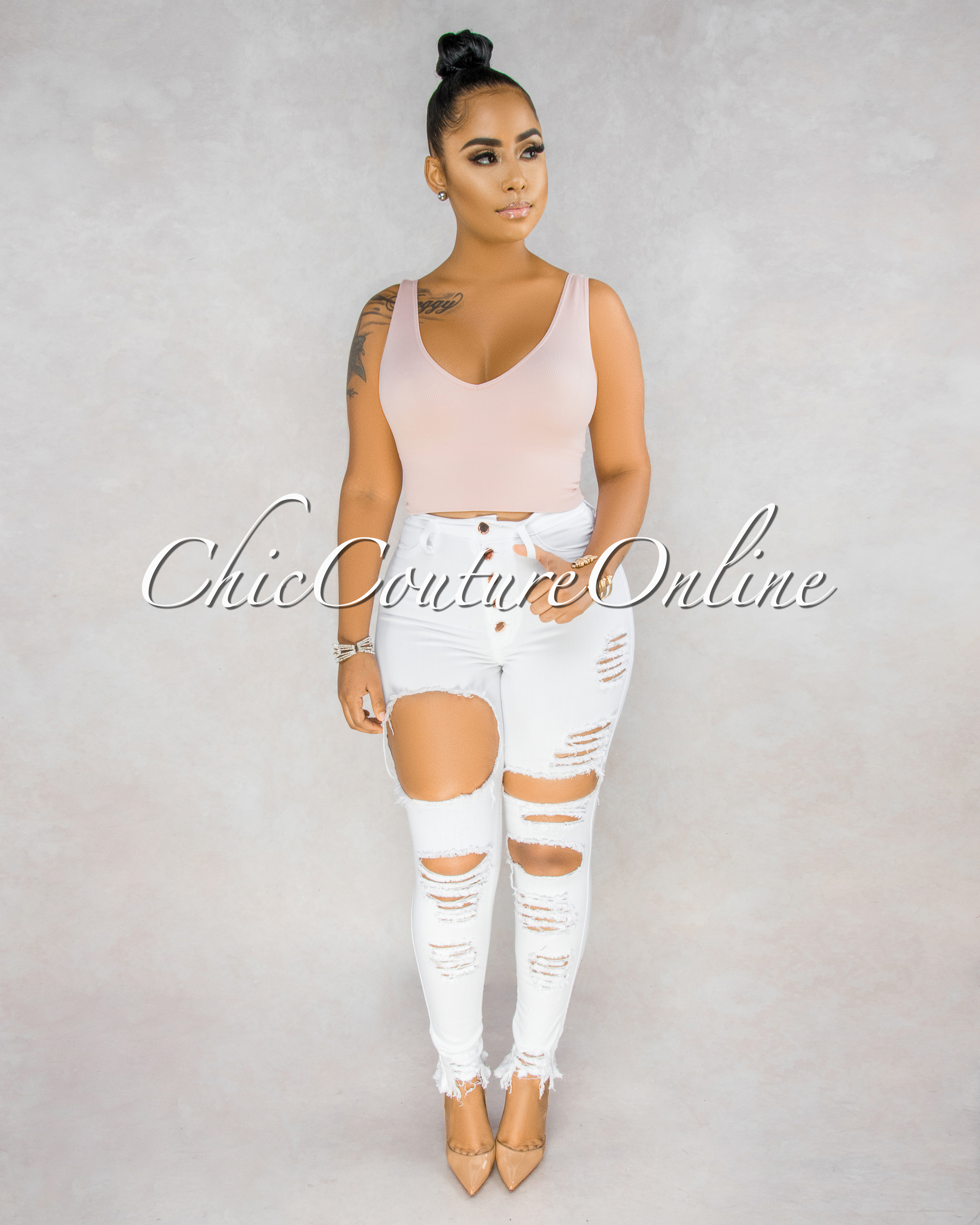 Benita White High Waist Rose Gold Buttons Destroyed Jeans