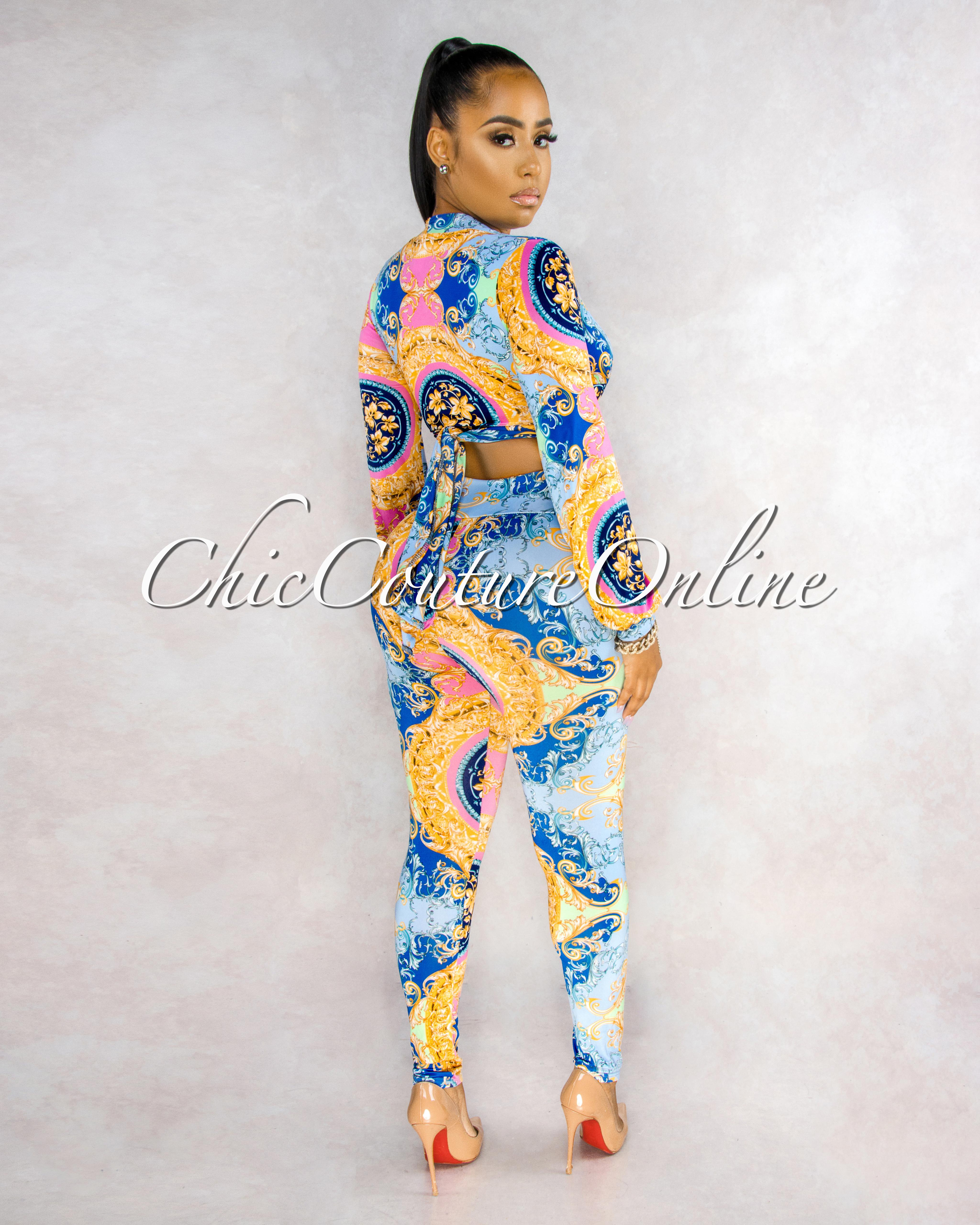 Bower Baby Blue Pink Print Front Tie Top Leggings Set