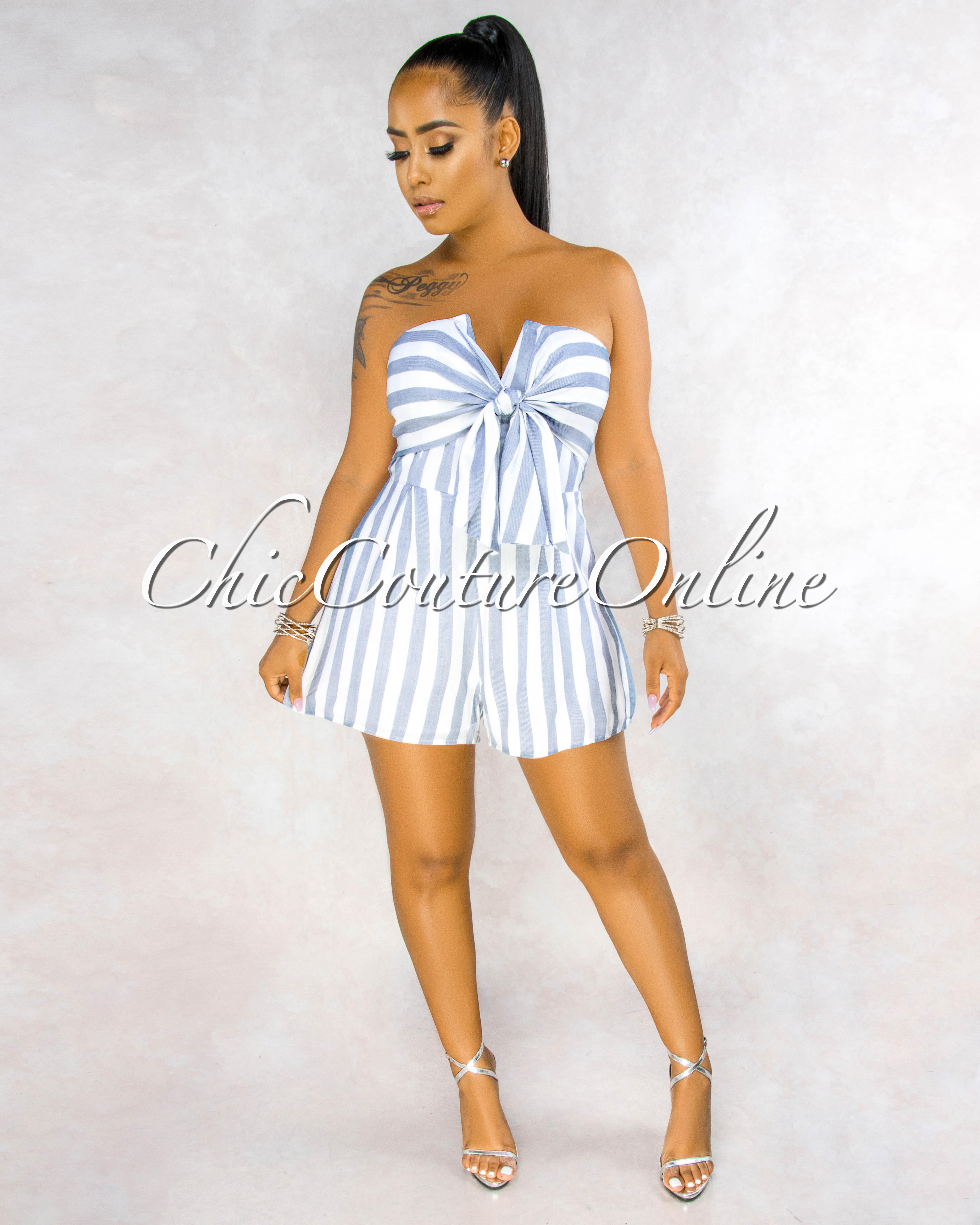 Breena Off-White Grey Stripes Front Tie Romper