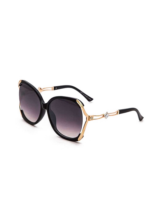 BB Oversized Black Gold Trim Square Sunglasses