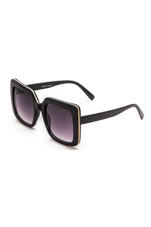 Vincent Big Square Black w/ Gold Trim Sunglasses