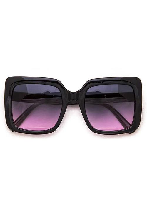 Vincent Big Square Black Purple Lens w/ Gold Trim Sunglasses