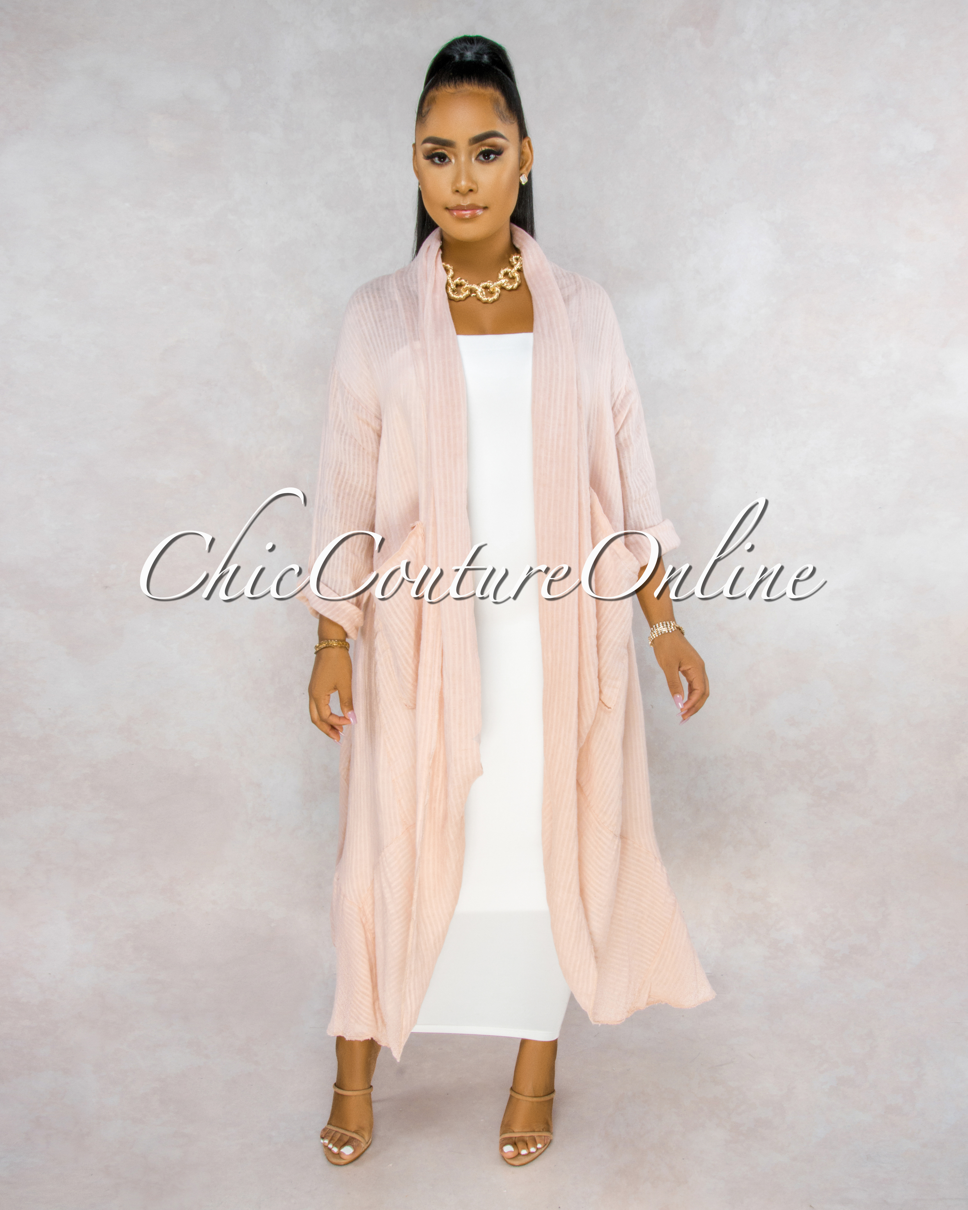 Halina Rose Stripes Texture LINEN Long Duster