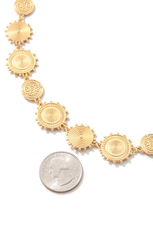 Patty Gold Disk Linked Necklace