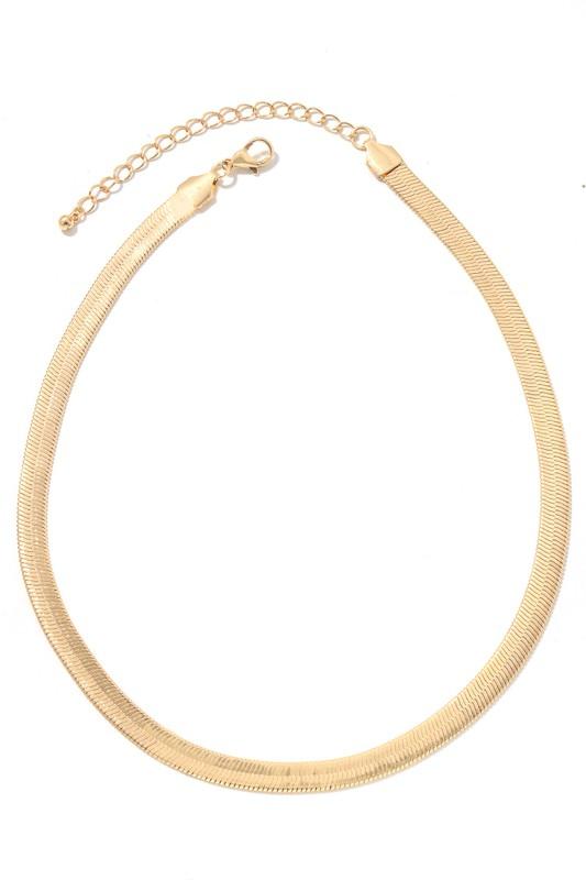 Ranna Gold Flat Herringbone Chain Necklace