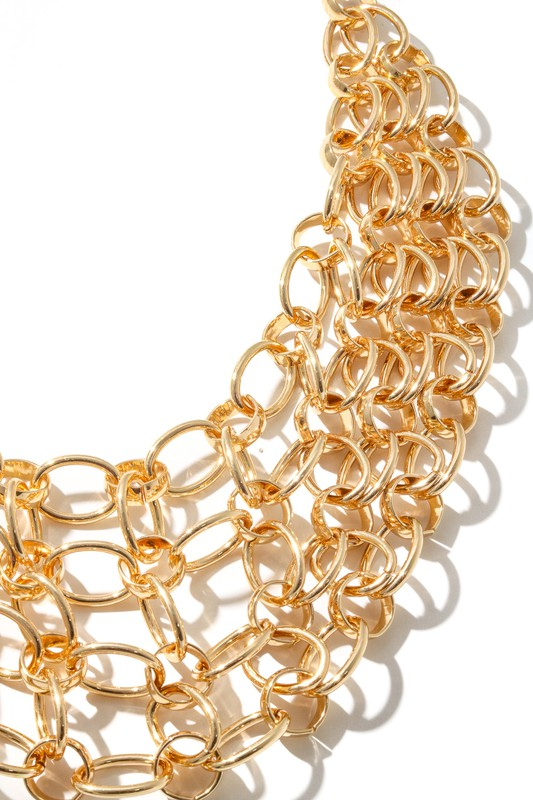 Rosa Gold Chain Mesh Statement Necklace