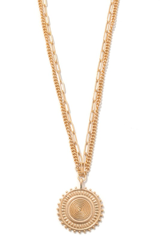 Silvie Gold Double Strand Disc Pendant Necklace