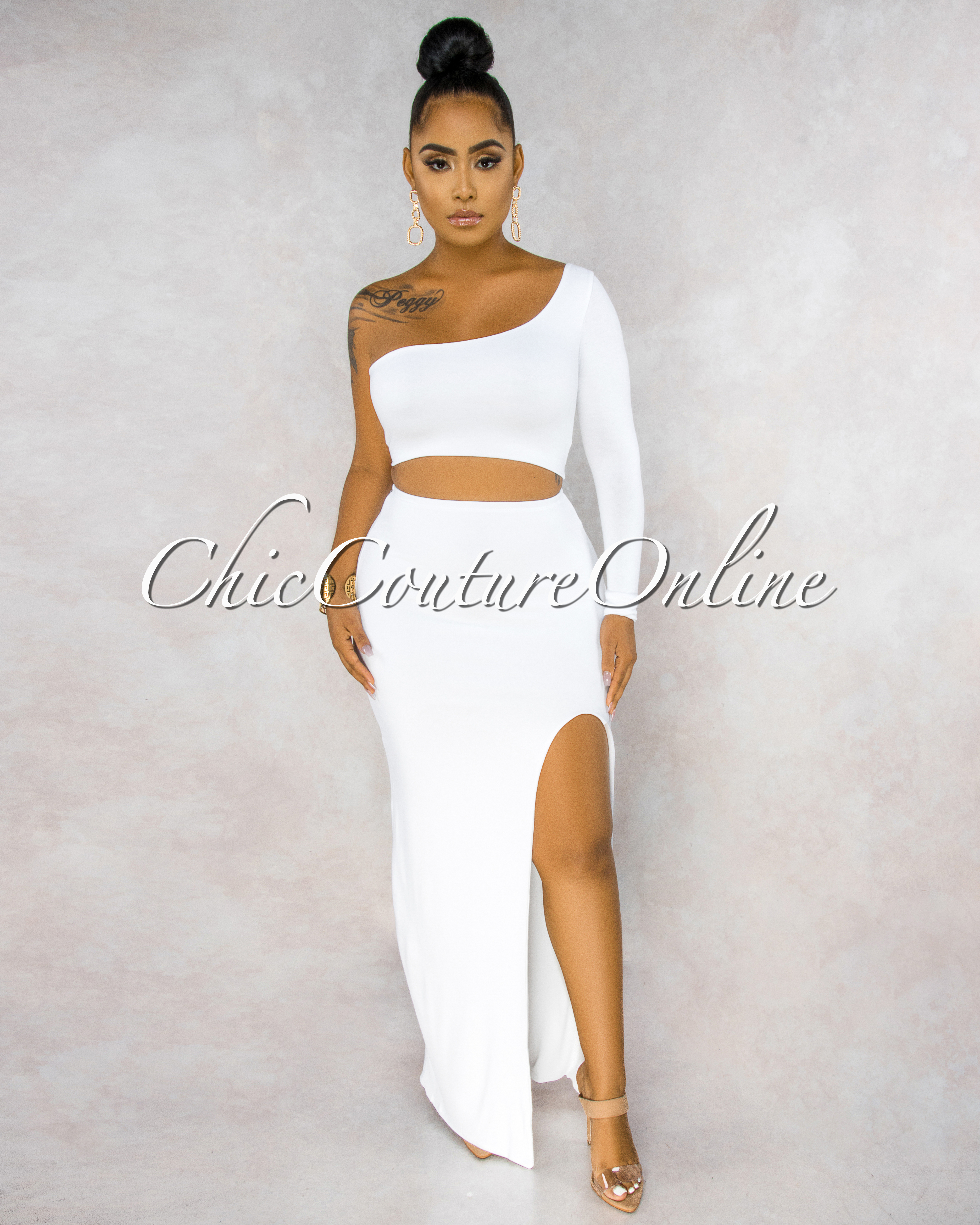 Joncier White Single Sleeve Top Side Slit Skirt Set