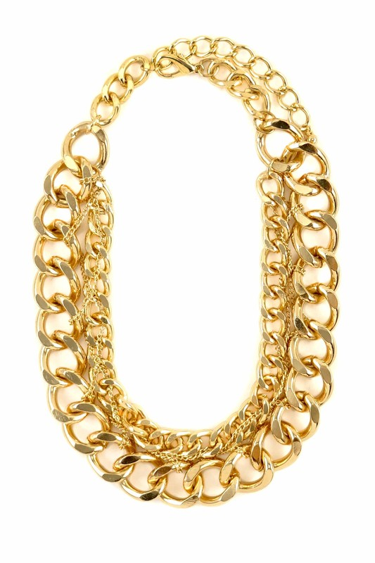 Caro Gold Double Chain Chunky Necklace