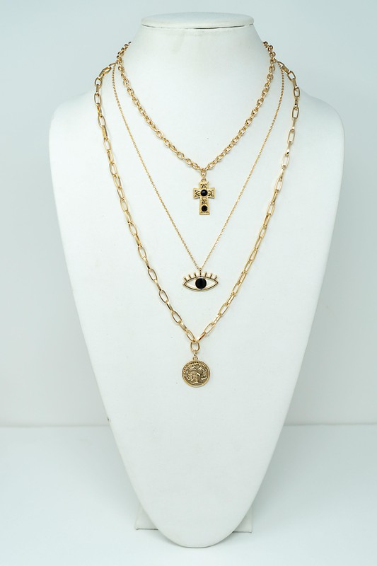 Katy Gold Three Strand Necklace with Eye, Coin & Cross