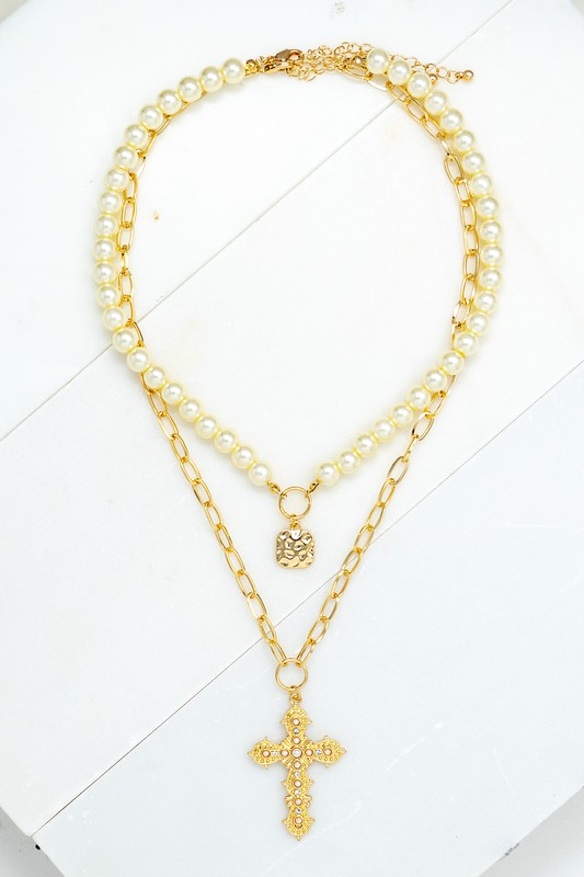 Maury Gold Two Strand with Pearl and Cross Pendant Necklace