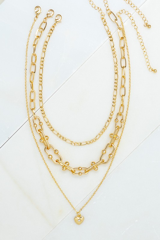 Kayly Gold Three Strand Necklace with Heart Charm