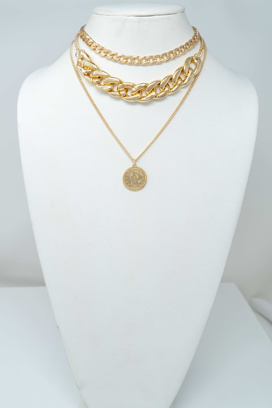 Karry Gold Three Strand Chunky Chain with Coin Charm