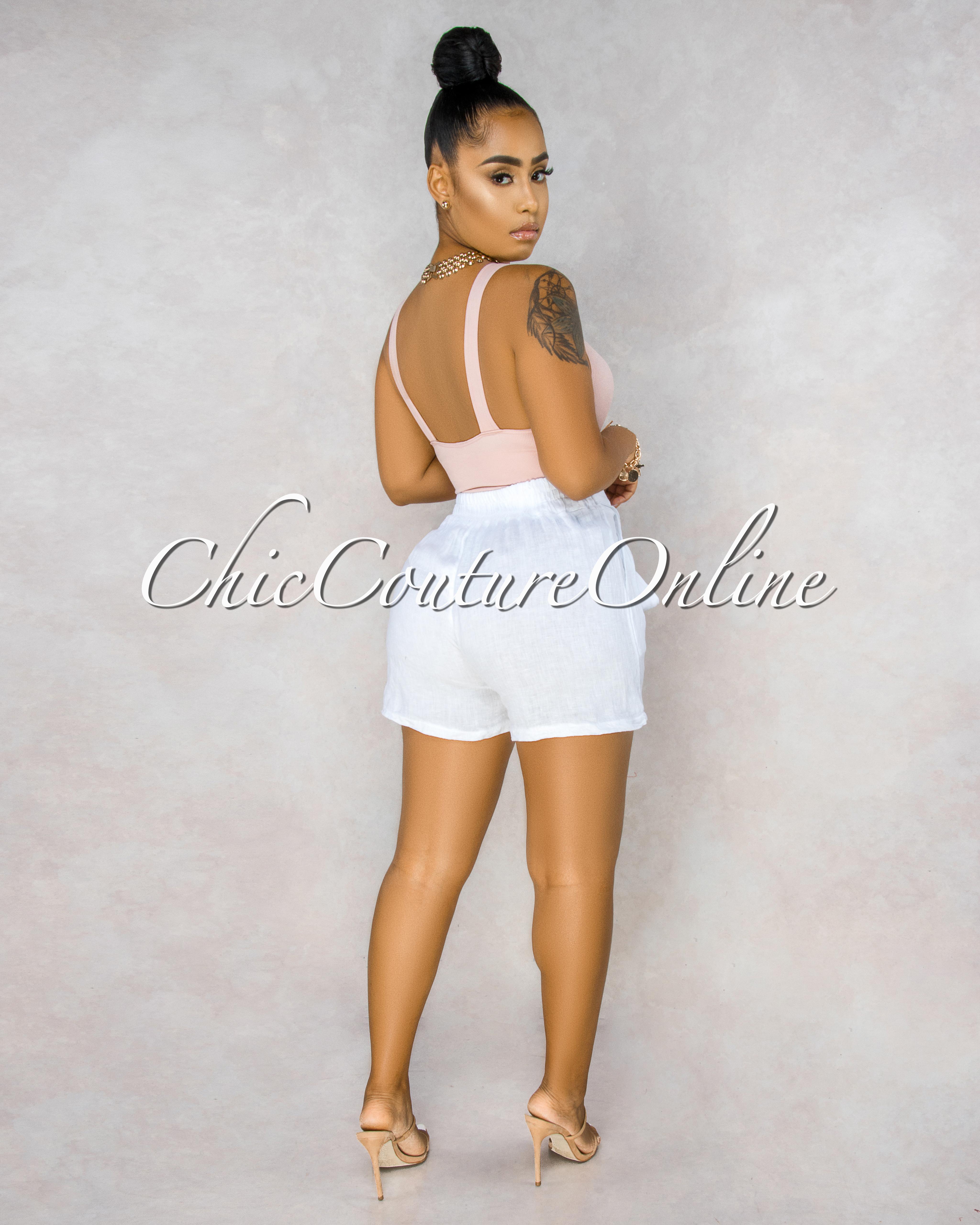 Delgado White Paper-Bag LINEN Shorts