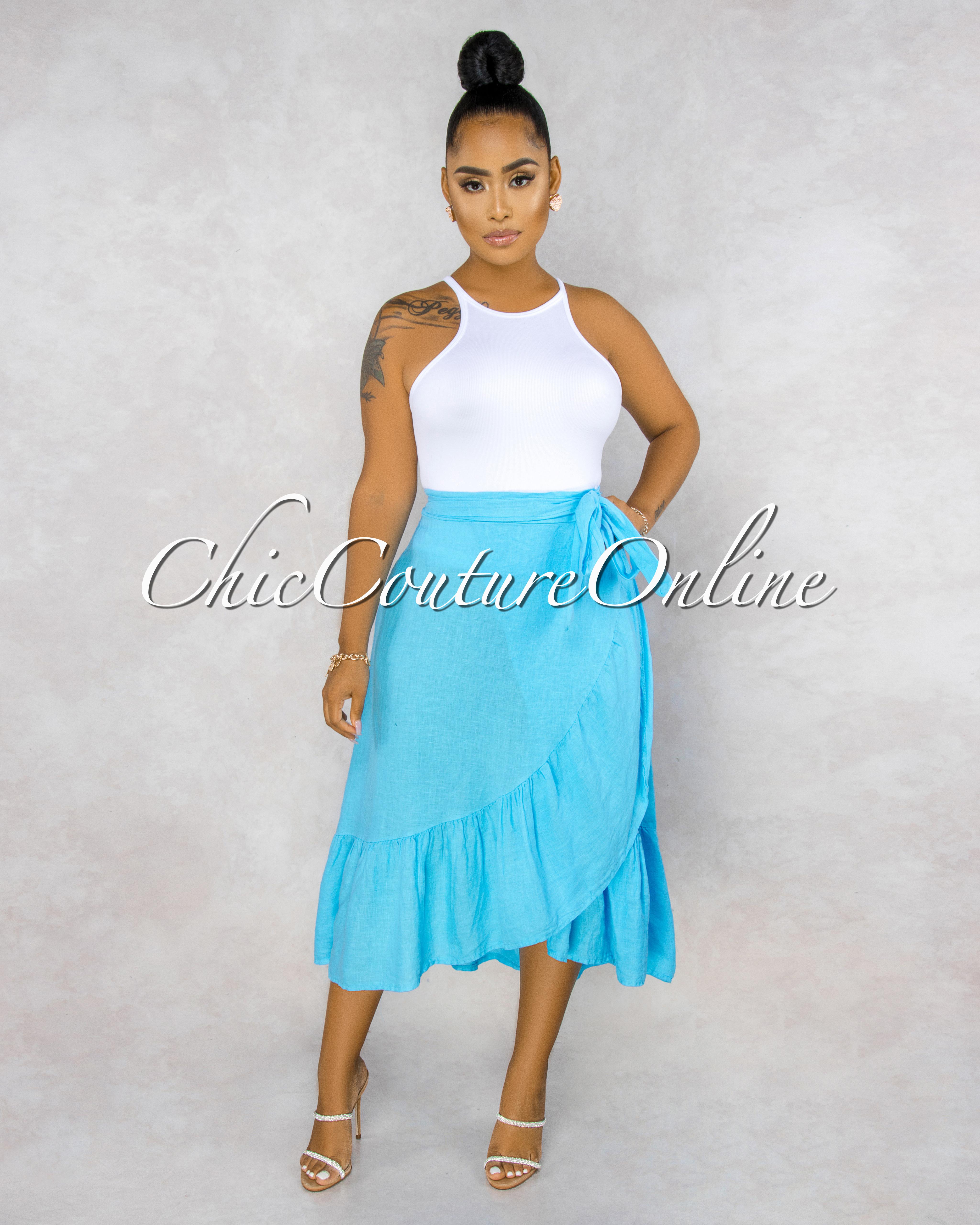 Taraji Turquoise Wrap Ruffle Maxi LINEN Skirt