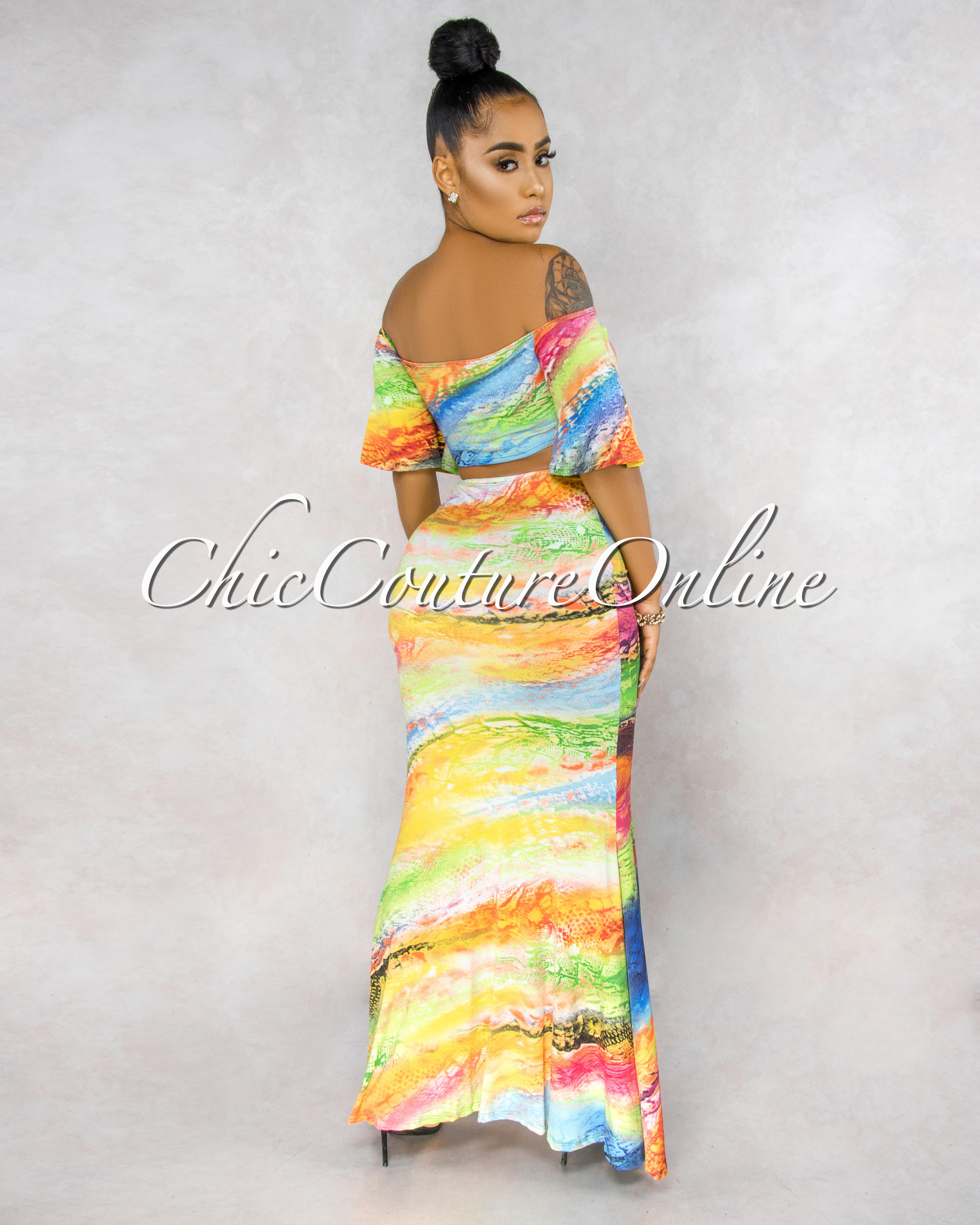 Pierina Multi Color Print Two Piece Skirt Set