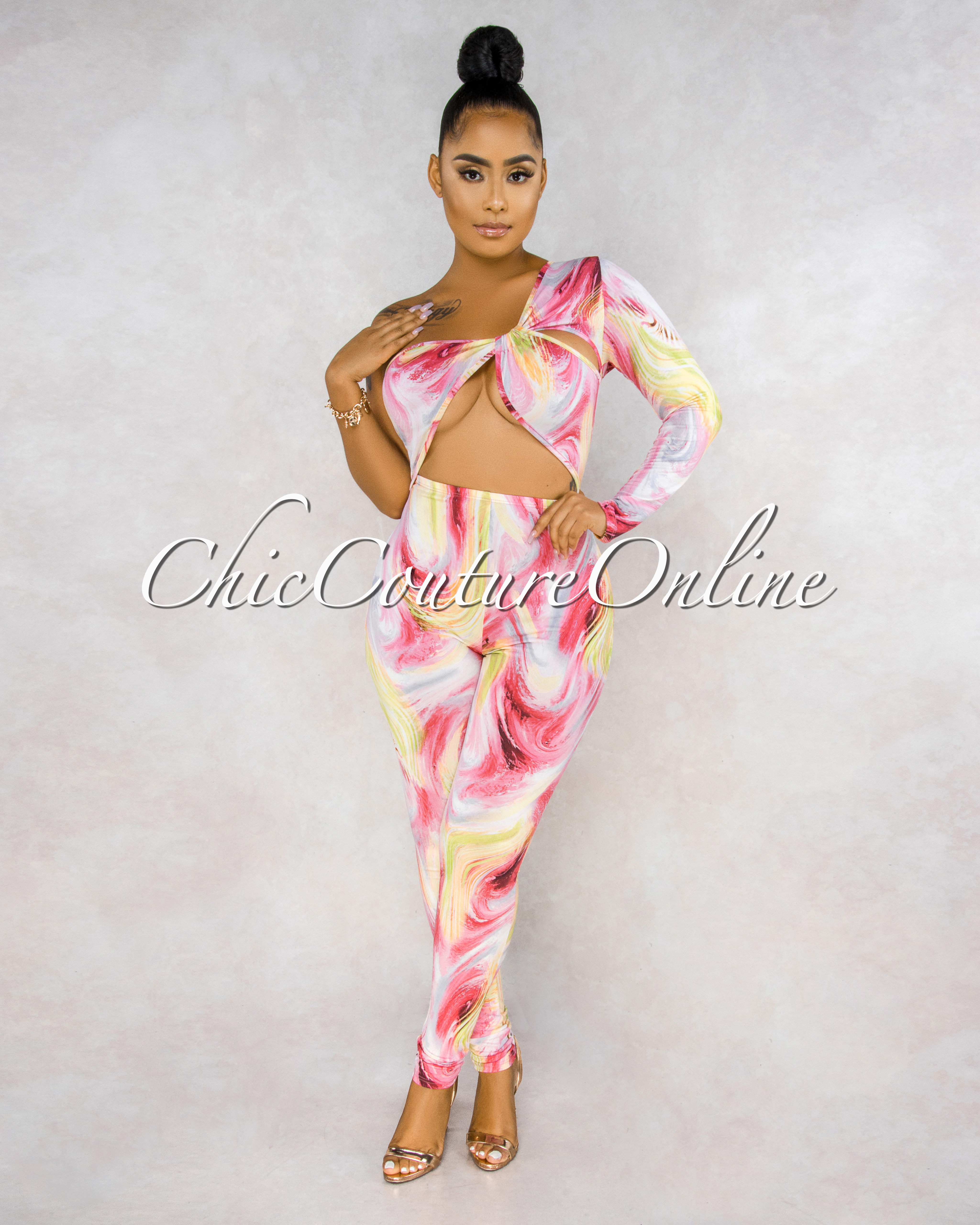 Skerika Pink Yellow Abstract Print Cut-Out Jumpsuit