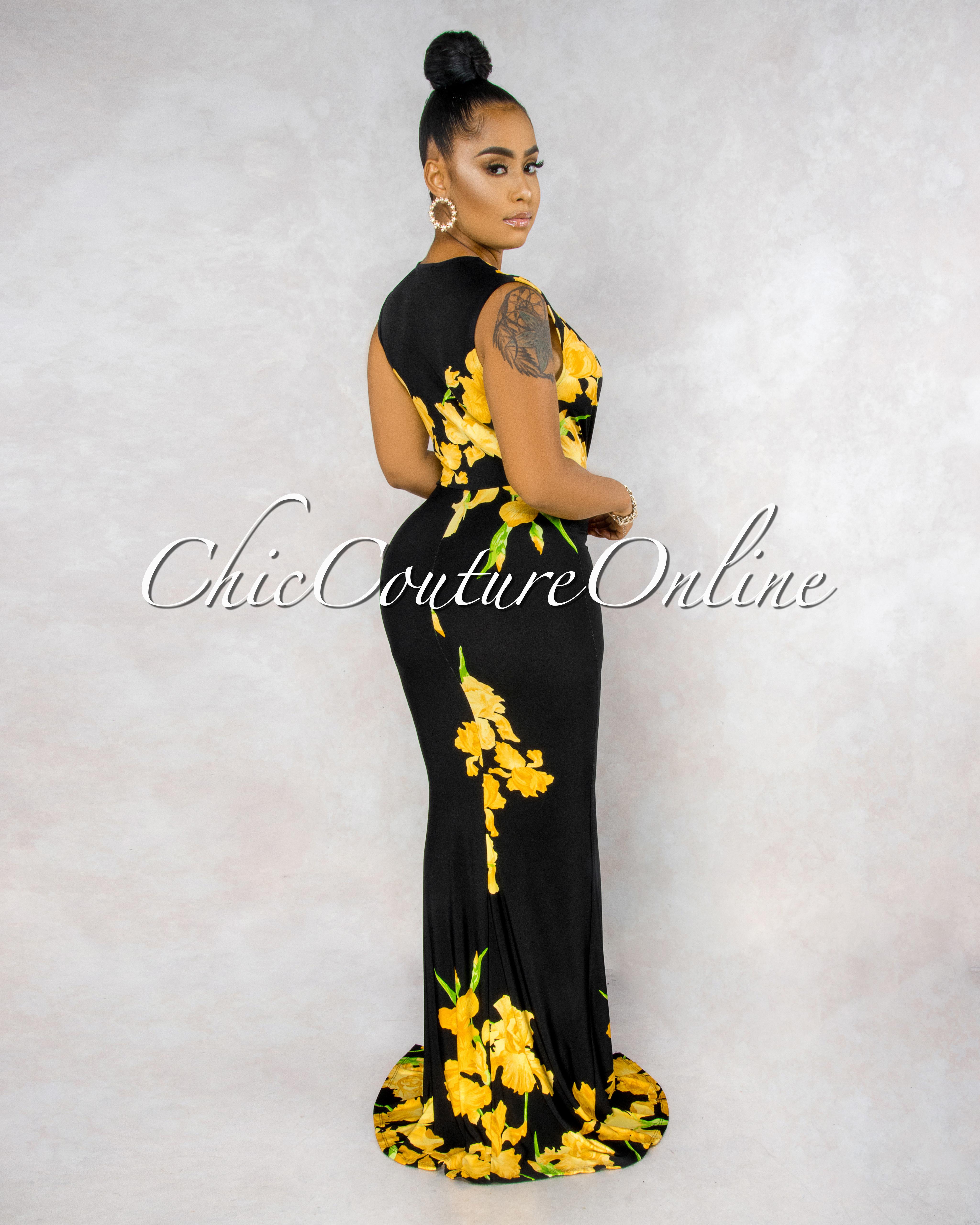 Priscila Black Yellow Flower Print Plunging V-Neck Maxi Dress