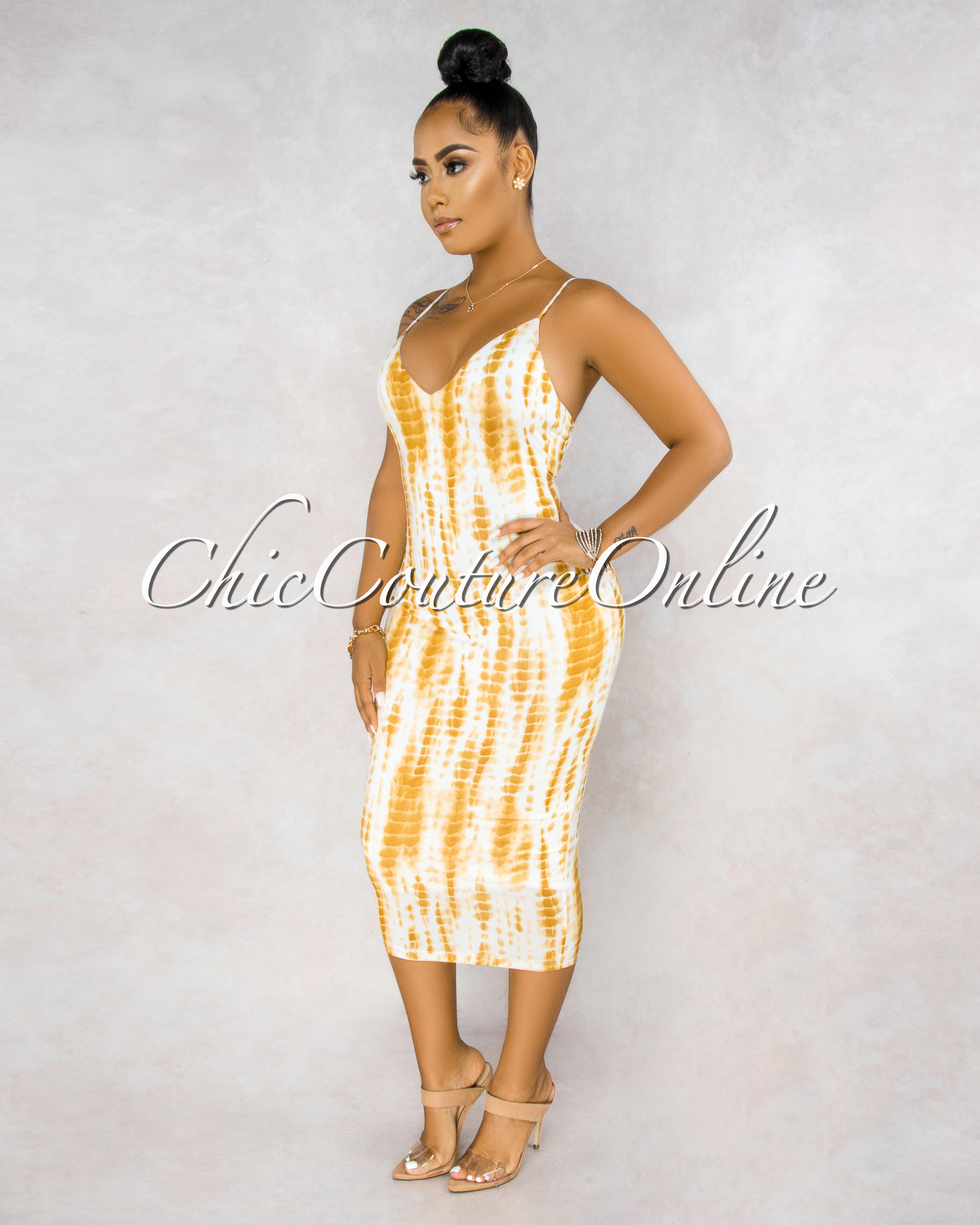 Fierra White Yellow Tie-Dye Lace-Up Back Midi Dress
