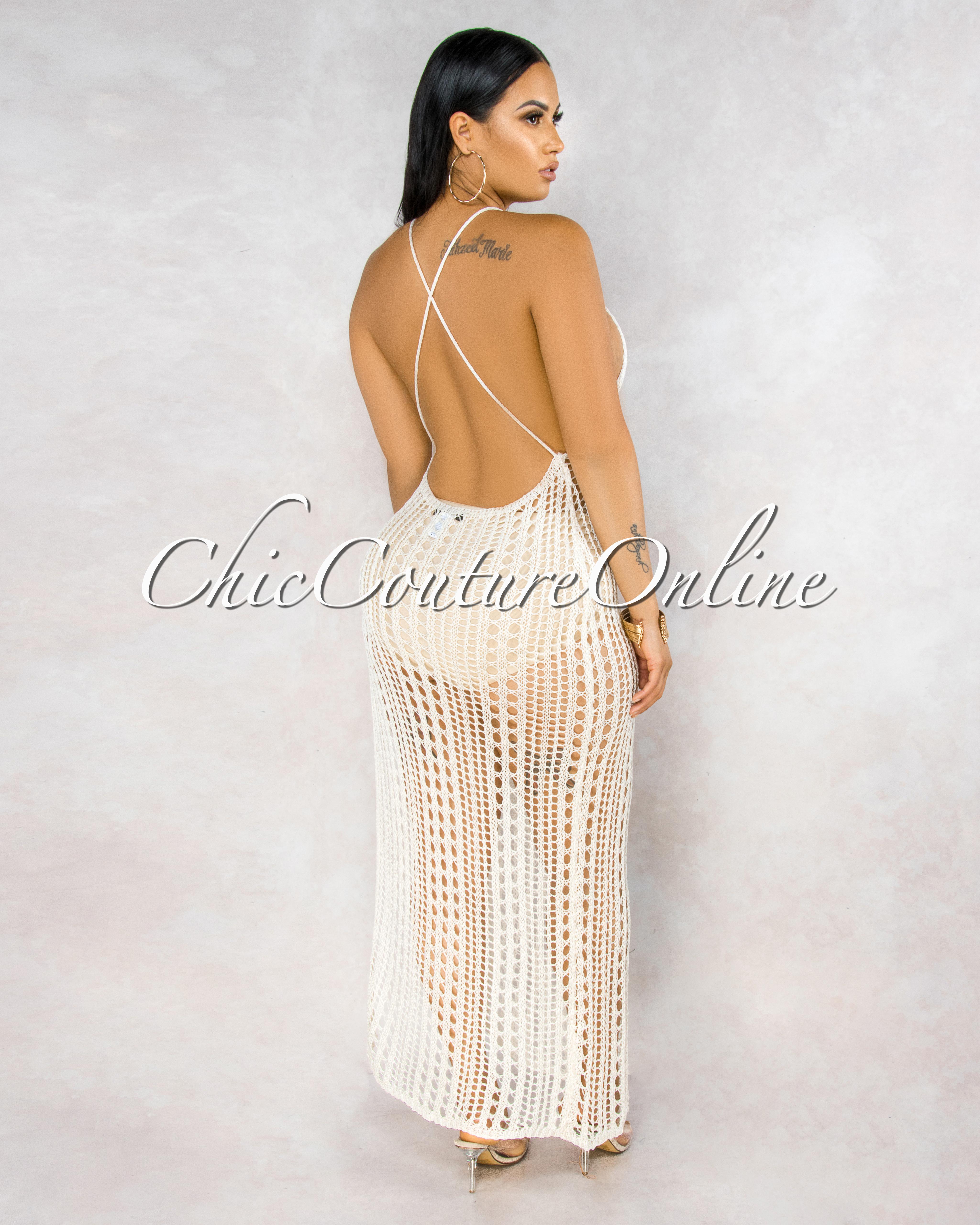 Safiat Ivory Shine Crochet Cover-Up Open Back Dress