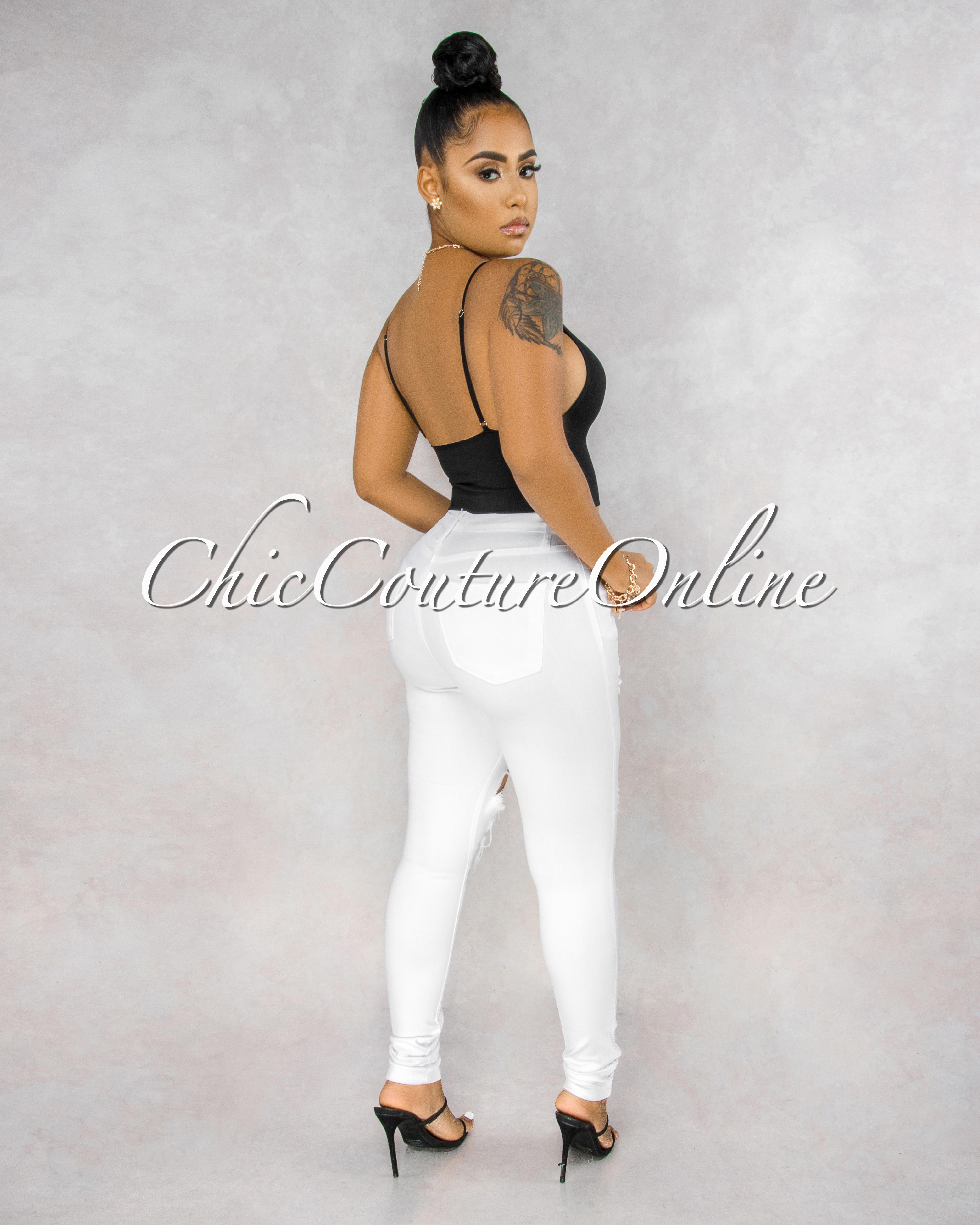 Evinna White Destroyed Denim Mid Waist Jeans