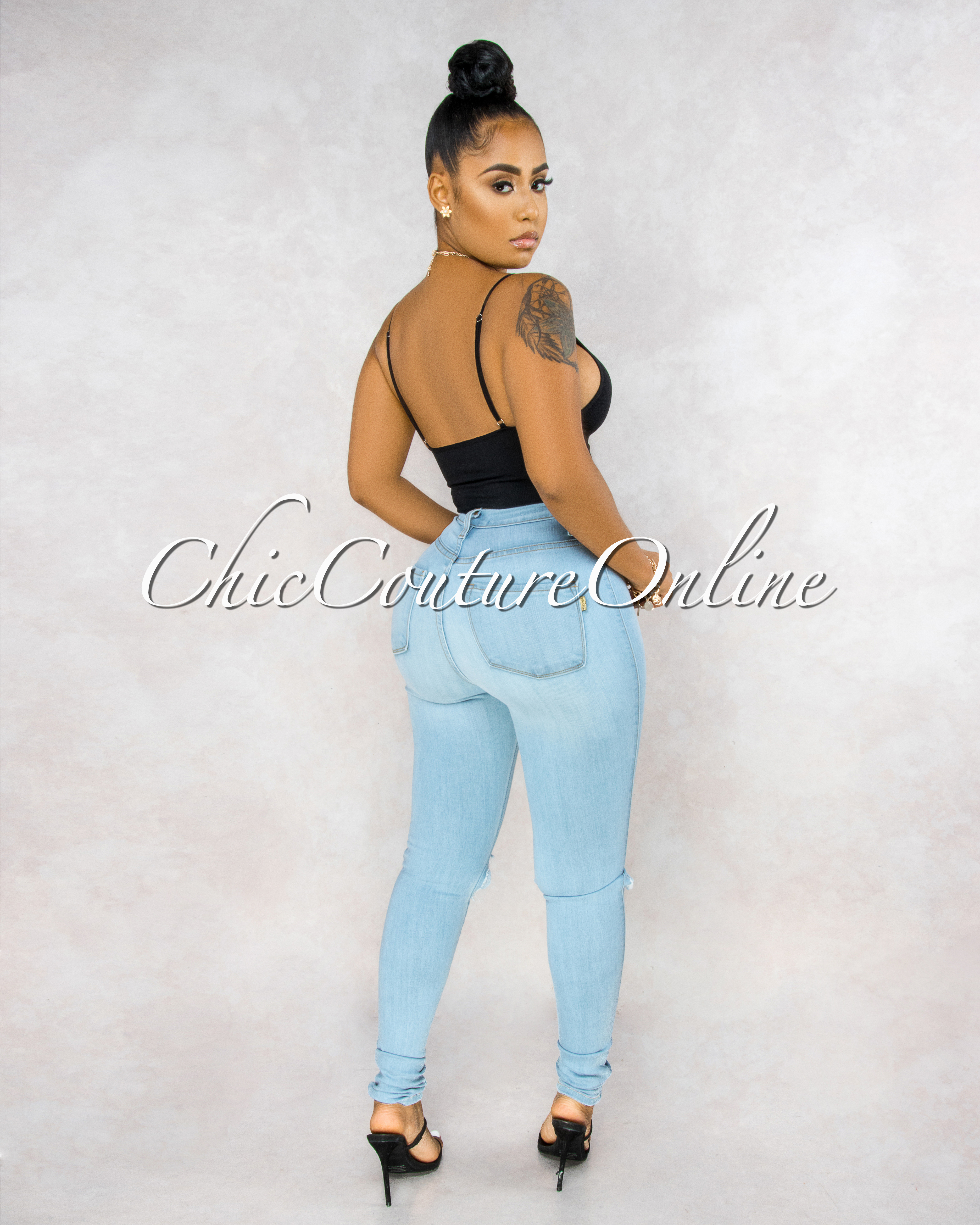 Shana Sky Blue Denim High-Waist Destroyed Skinny Jeans