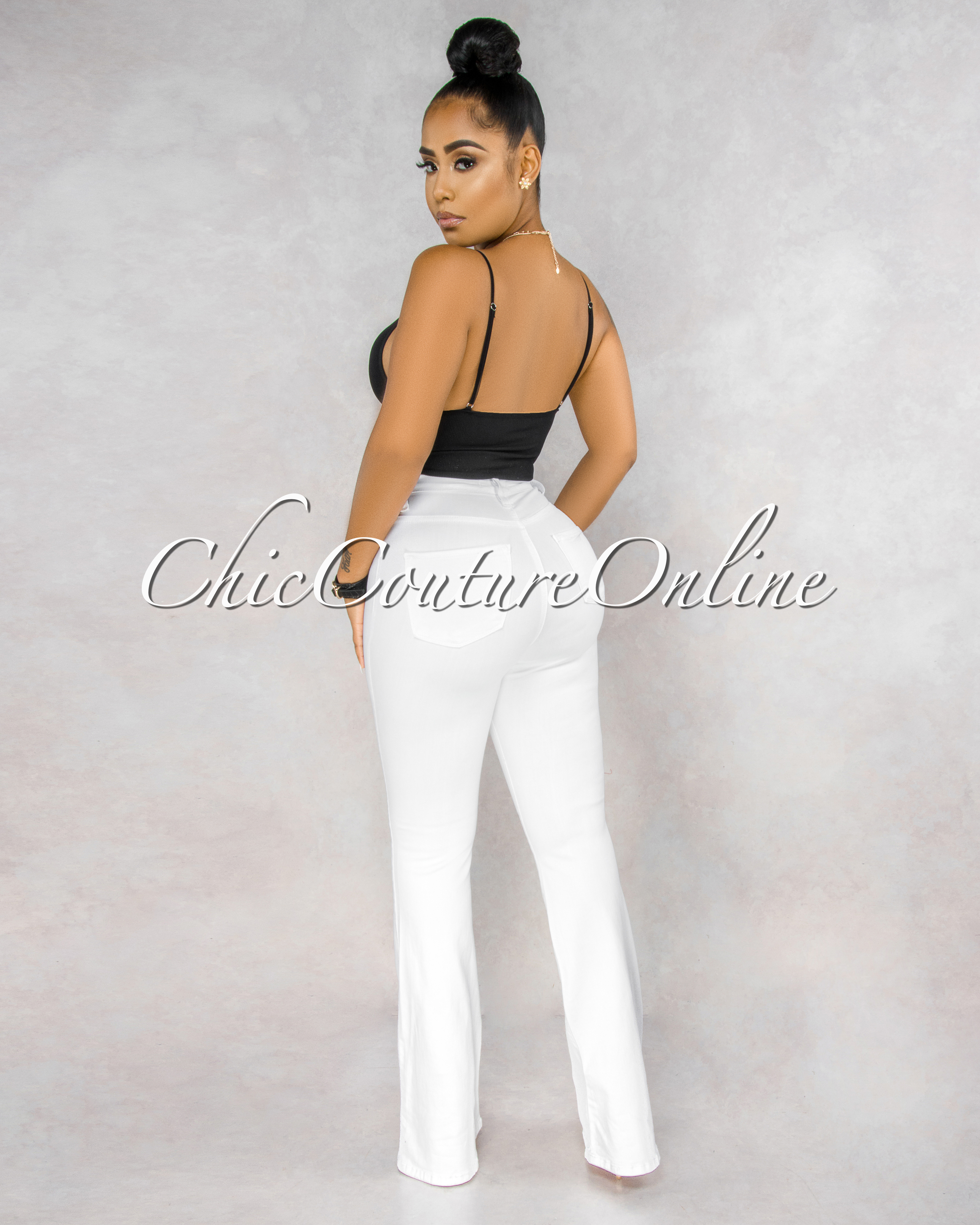 Tara White Rose Gold Button Up High Waist Bell Legs Jeans