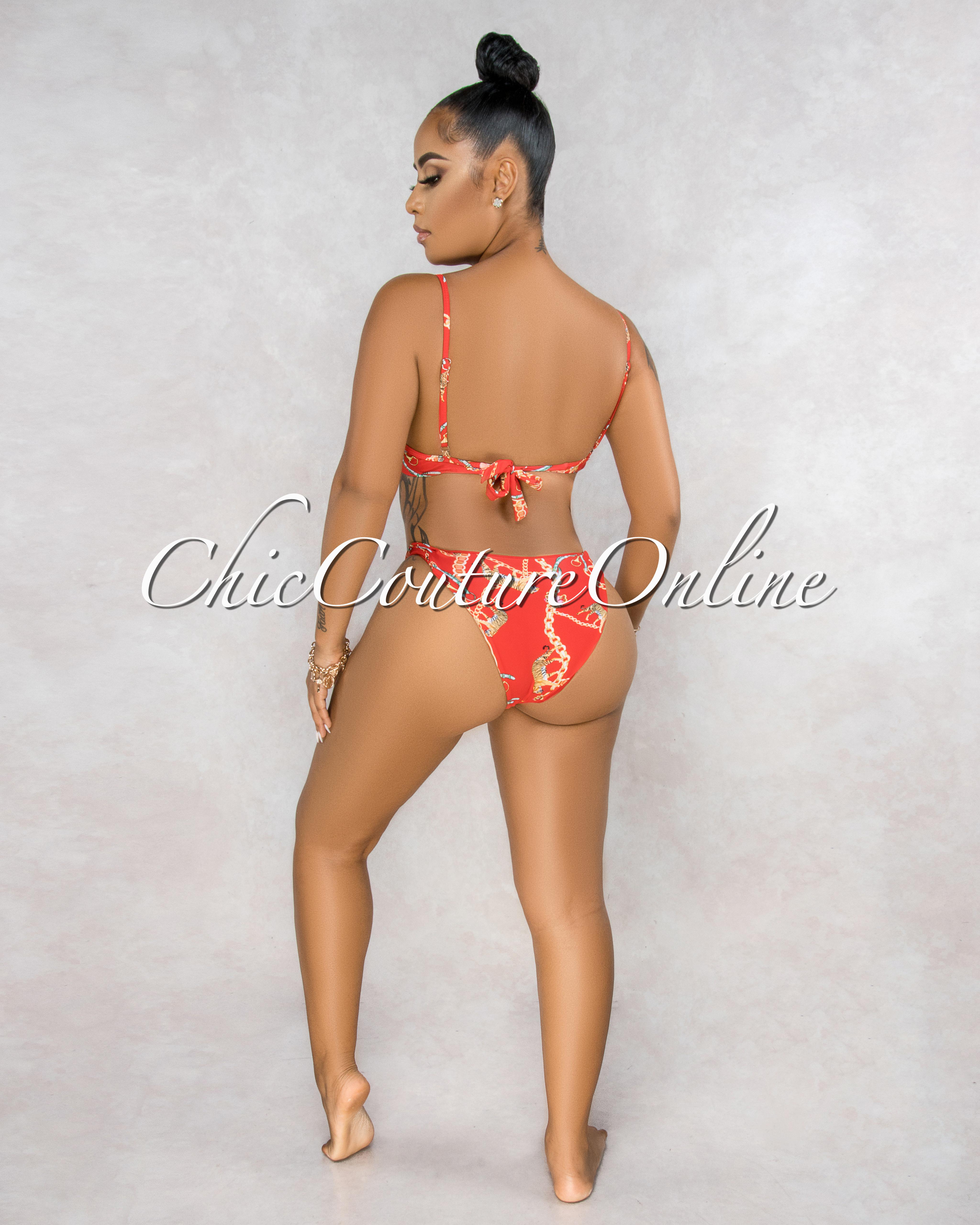 Sarrah Red Tiger Print Front Tie Detail Two Piece Bikini Set
