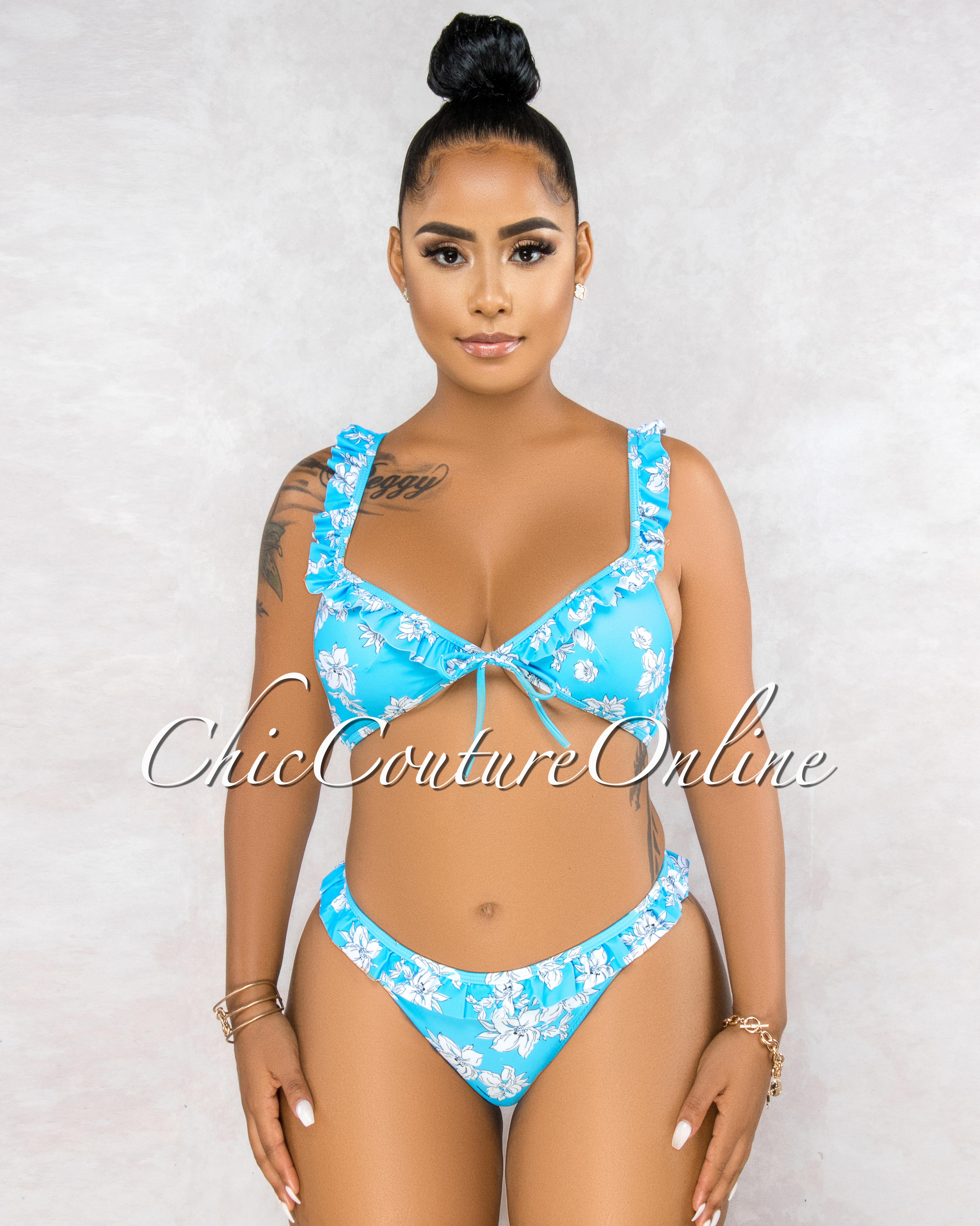 Brea Turquoise White Floral Print Ruffle Two Piece Bikini Set