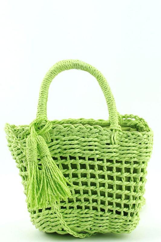 Mattie Green Straw Woven BASKET CROSSBODY BAG