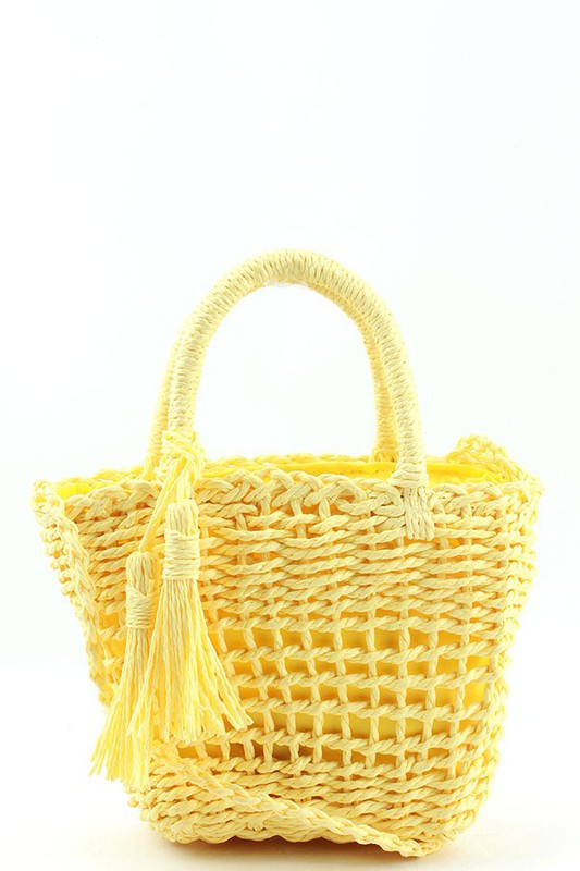 Mattie Yellow Straw Woven BASKET CROSSBODY BAG