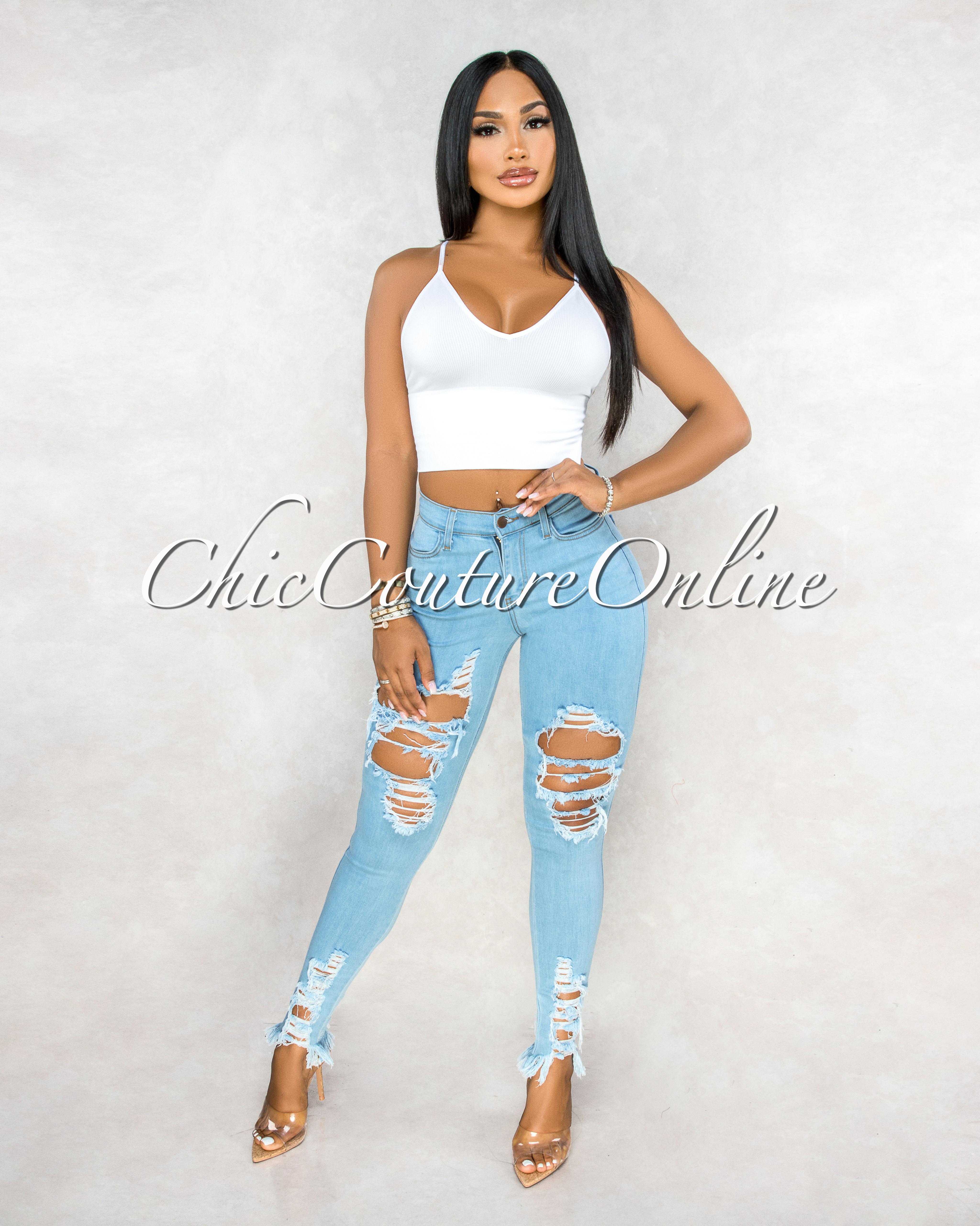 Soraya Light Blue Denim High Waist Destroyed Jeans