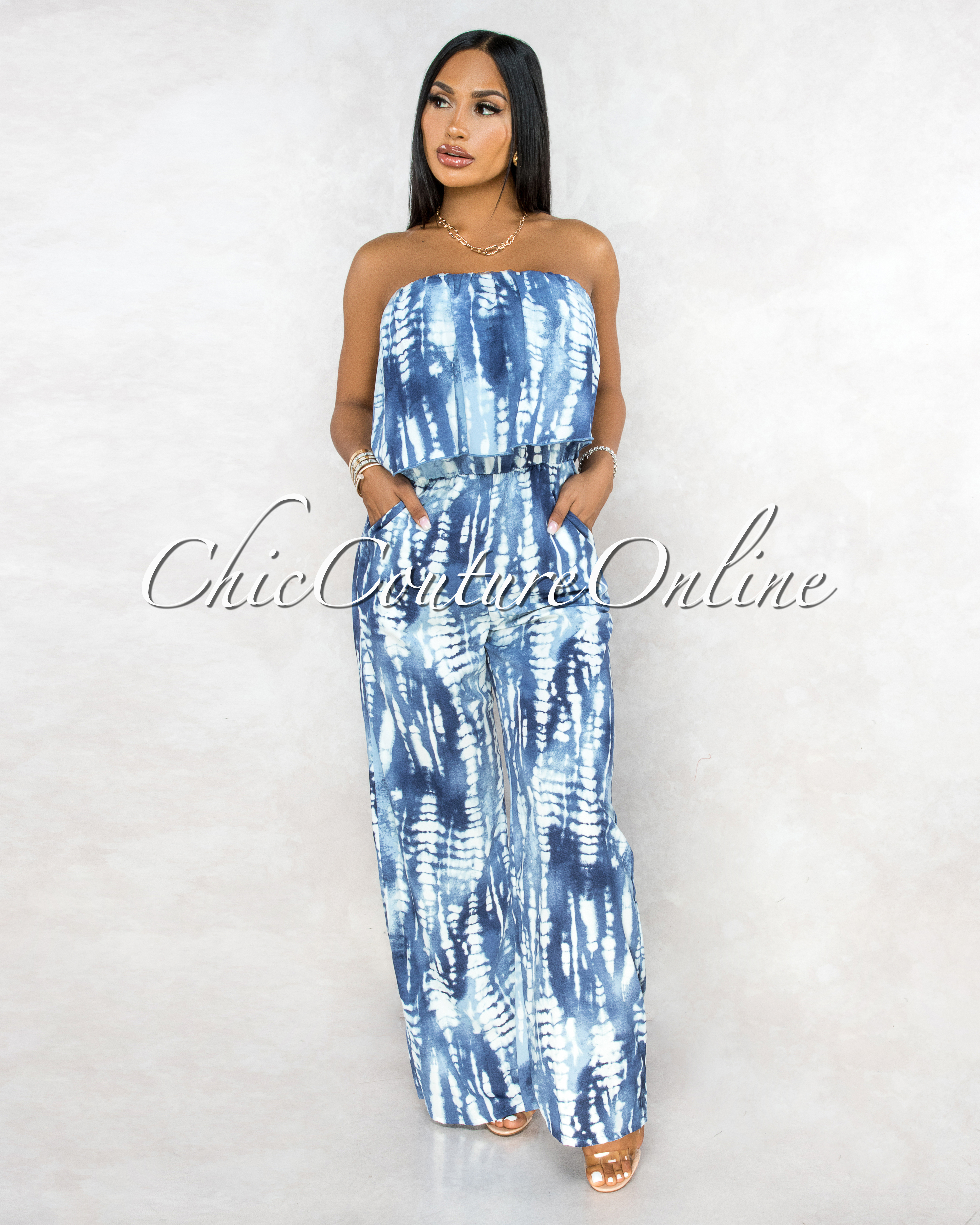 Roman Blue White Tie-Dye Overlay Top Strapless Jumpsuit