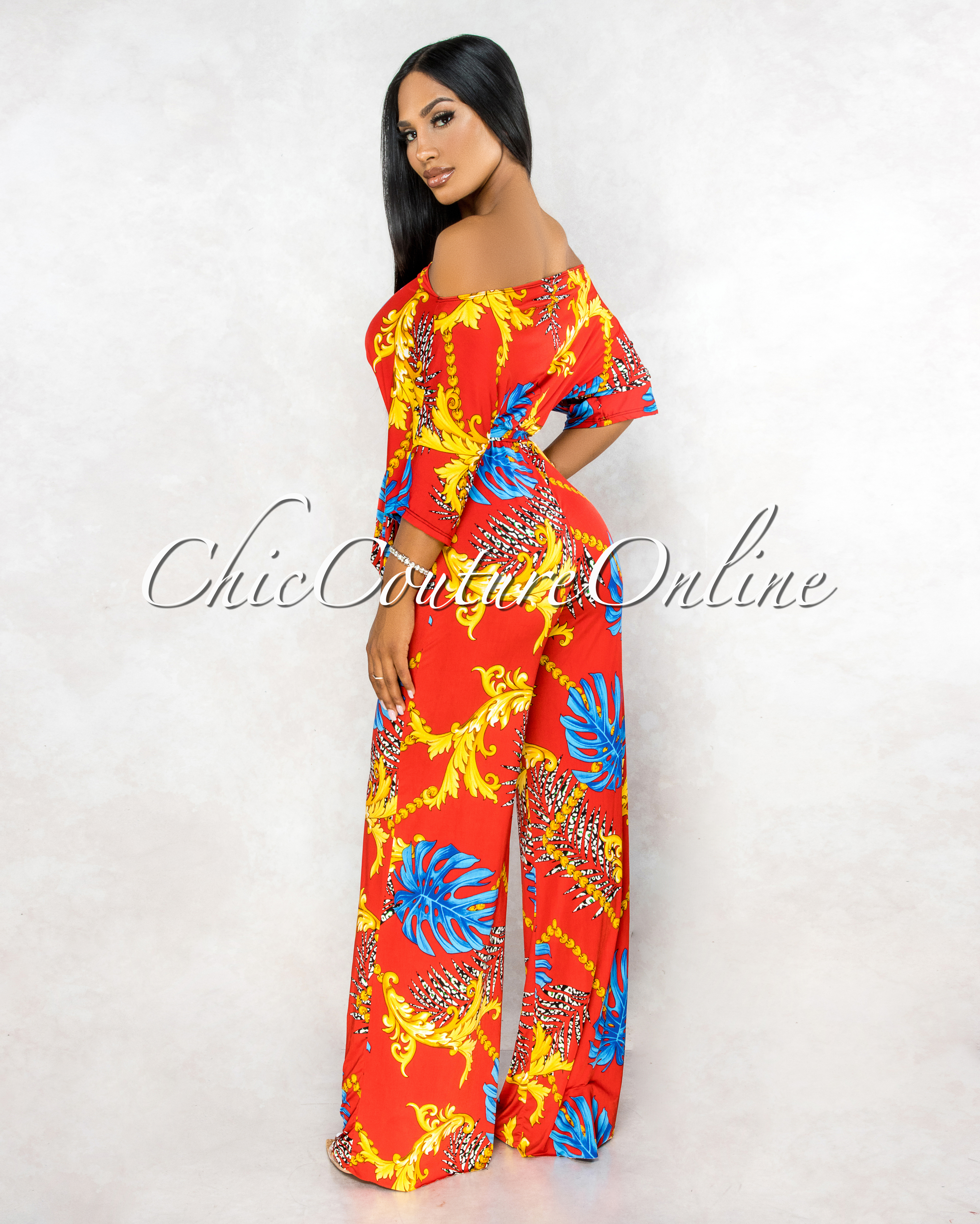 Kirsy Red Multi-Color Print Jumpsuit