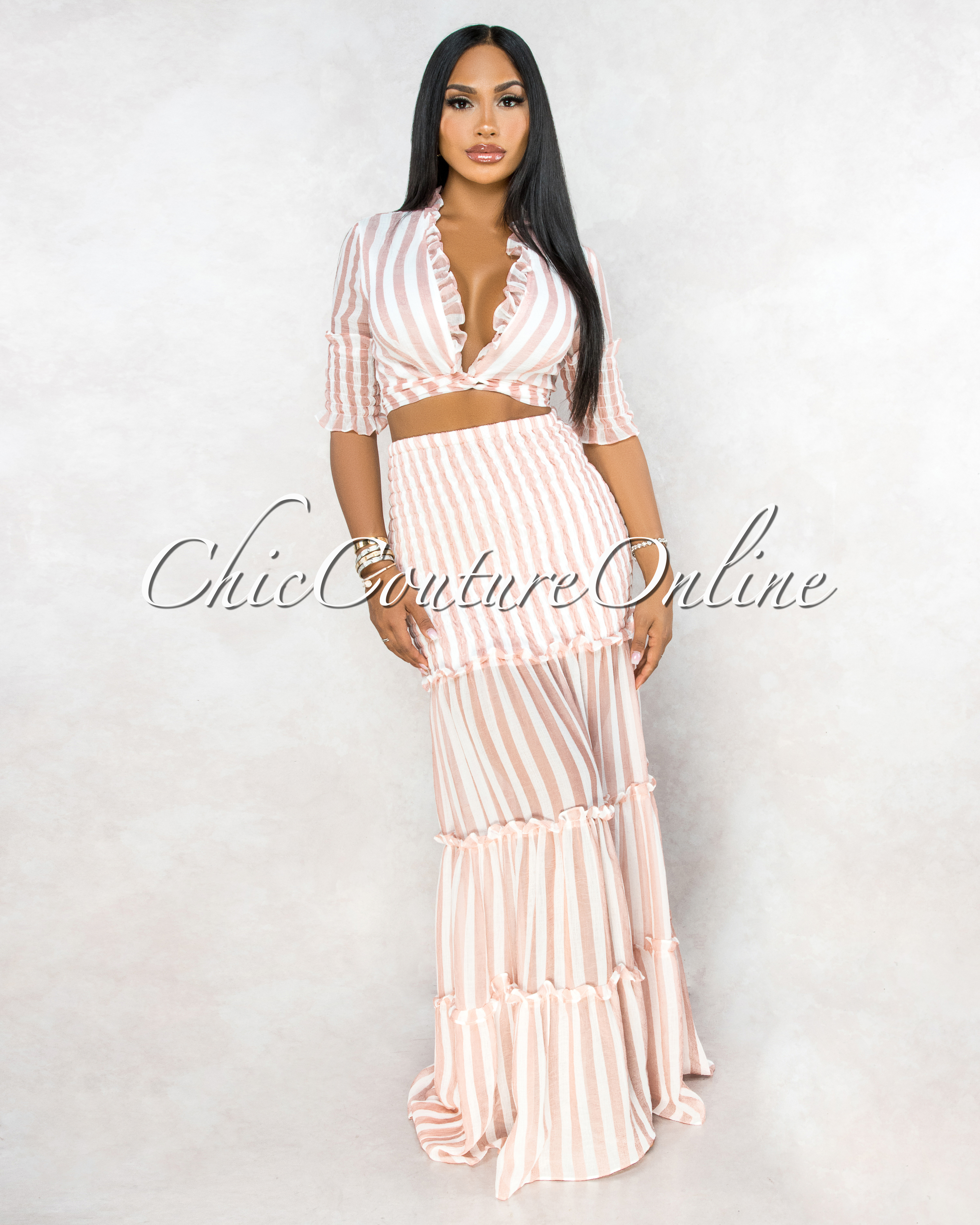 Clemons White Pink Stripes Smocked Two Piece Skirt Set