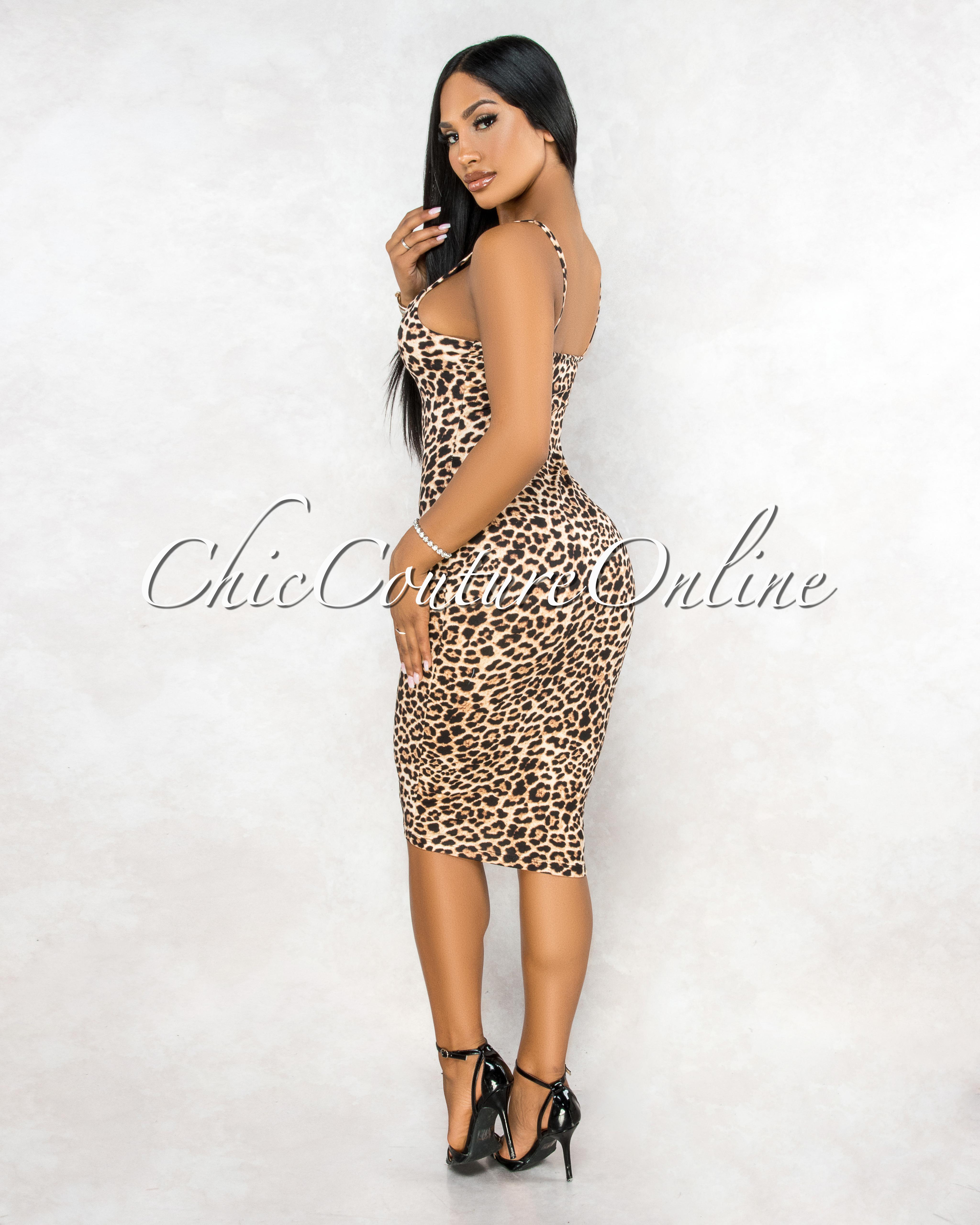 Baxter Leopard Pint Fitted Midi Dress