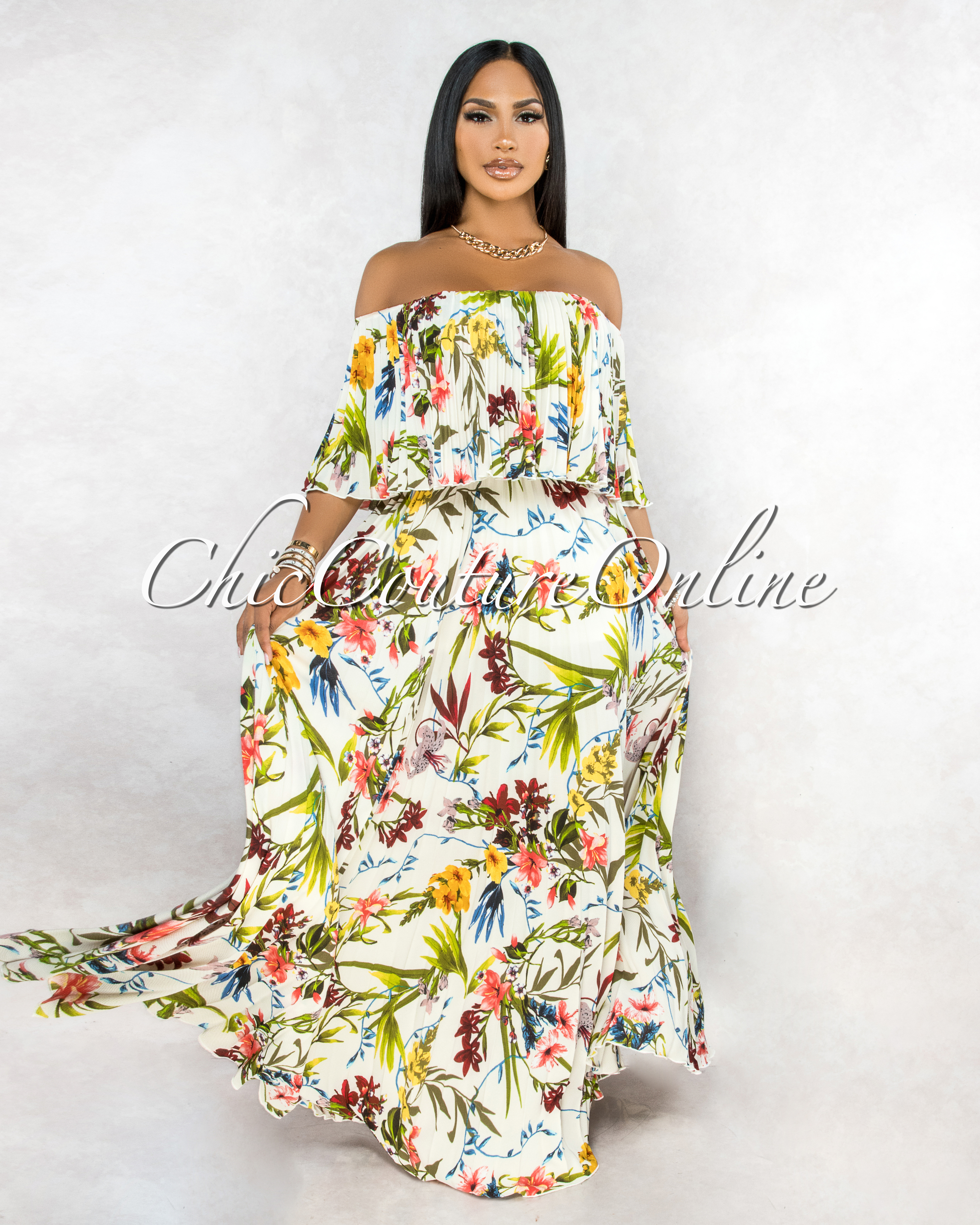 Clarisa Ivory Multi-Color Floral Print Pleated Maxi Dress
